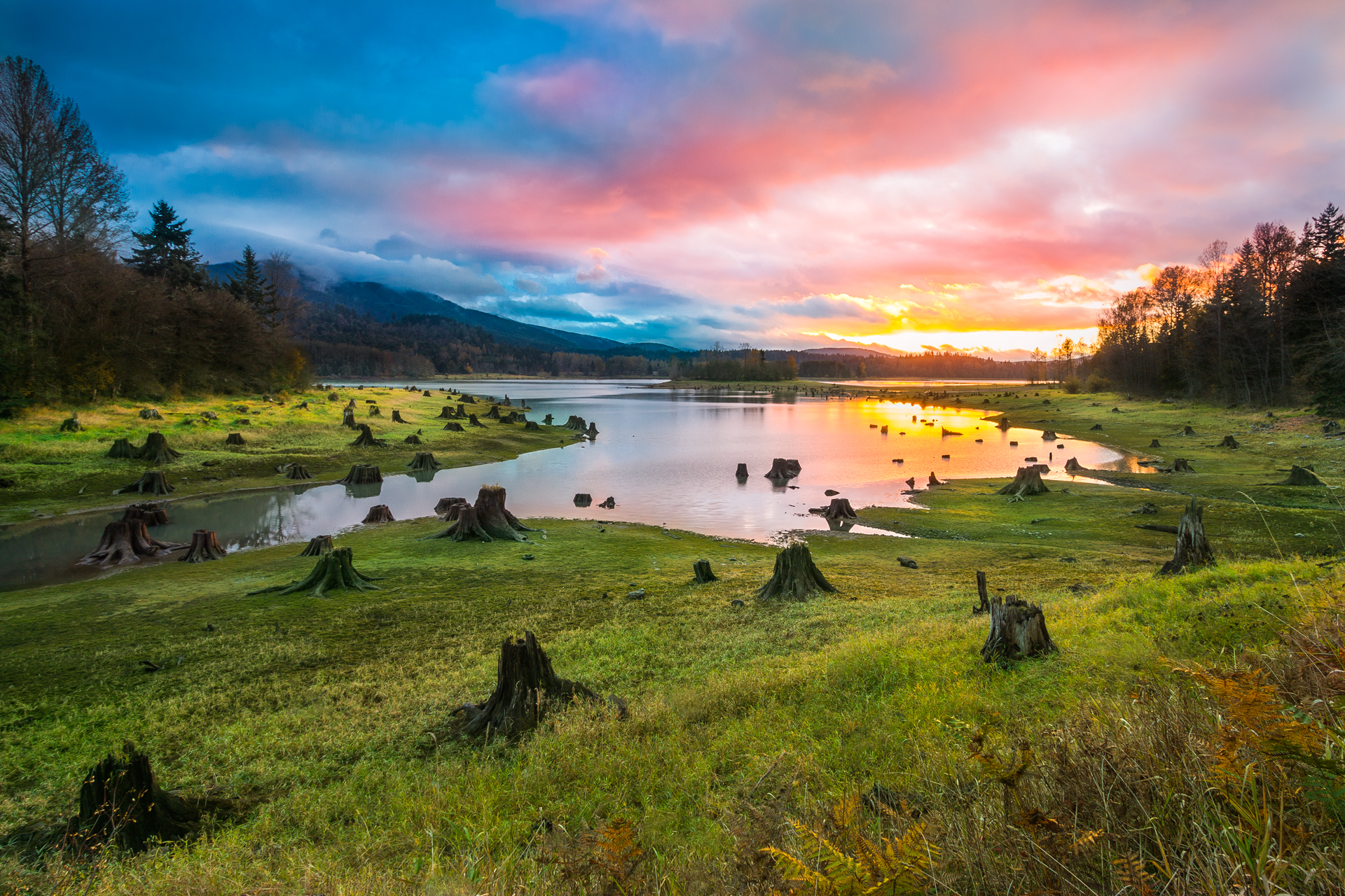 (Click image to enlarge)   Fiery Skies at Alder Lake  | 20x30 | High gloss metal print with hand made shadow mount  Putting on a show | Elbe, Washington