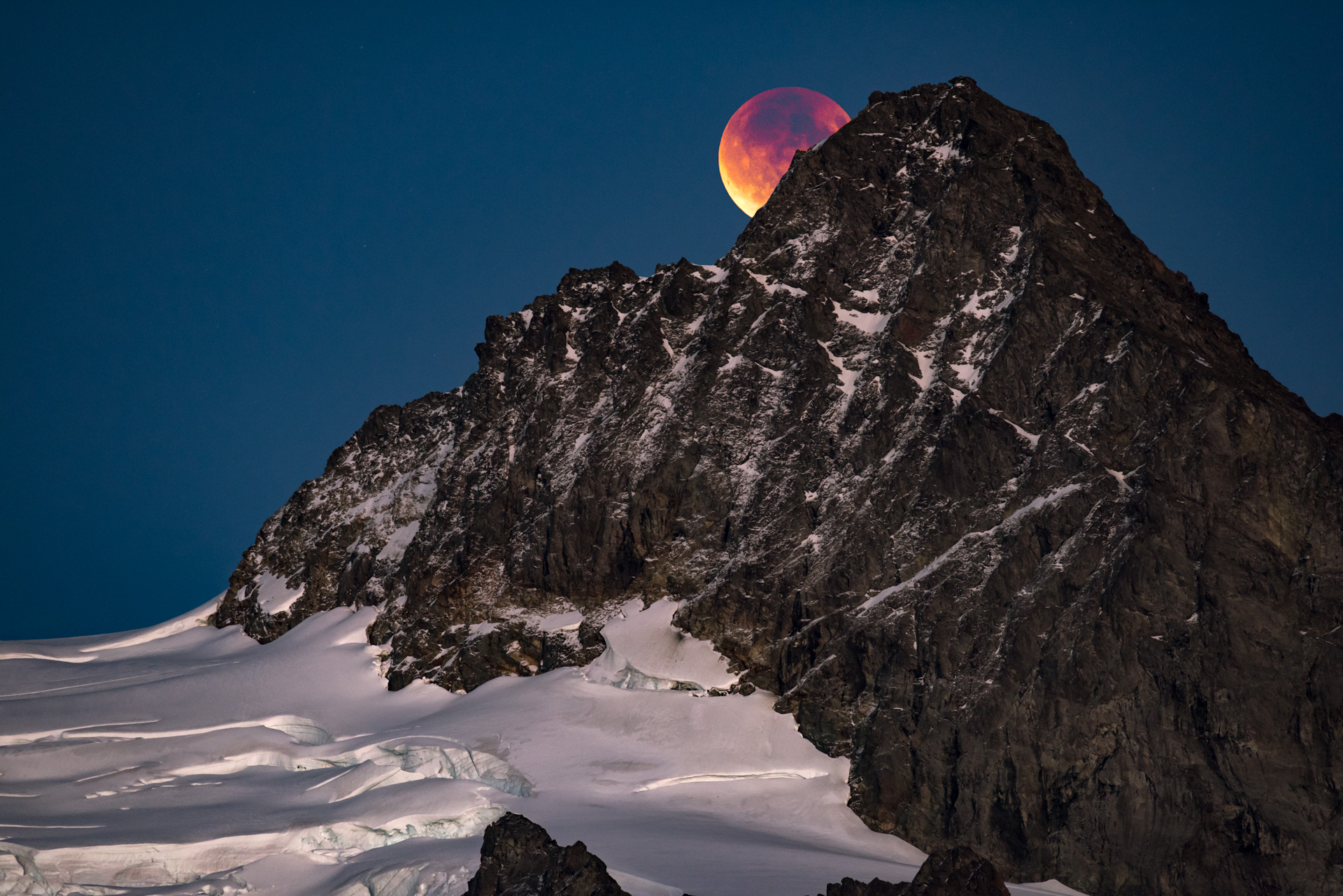 Blood Moon over Mount Shuksan  |  [First Place in Photography | Kenmore Camera Award | SOLD]   Super Moon / Harvest Moon / Blood Moon / Lunar Eclipse / September 27, 2015 | Mount Baker-Snoqualmie National Forest, Washington  16x24 | high gloss metal print with hand made shadow mount  (click image to enlarge)