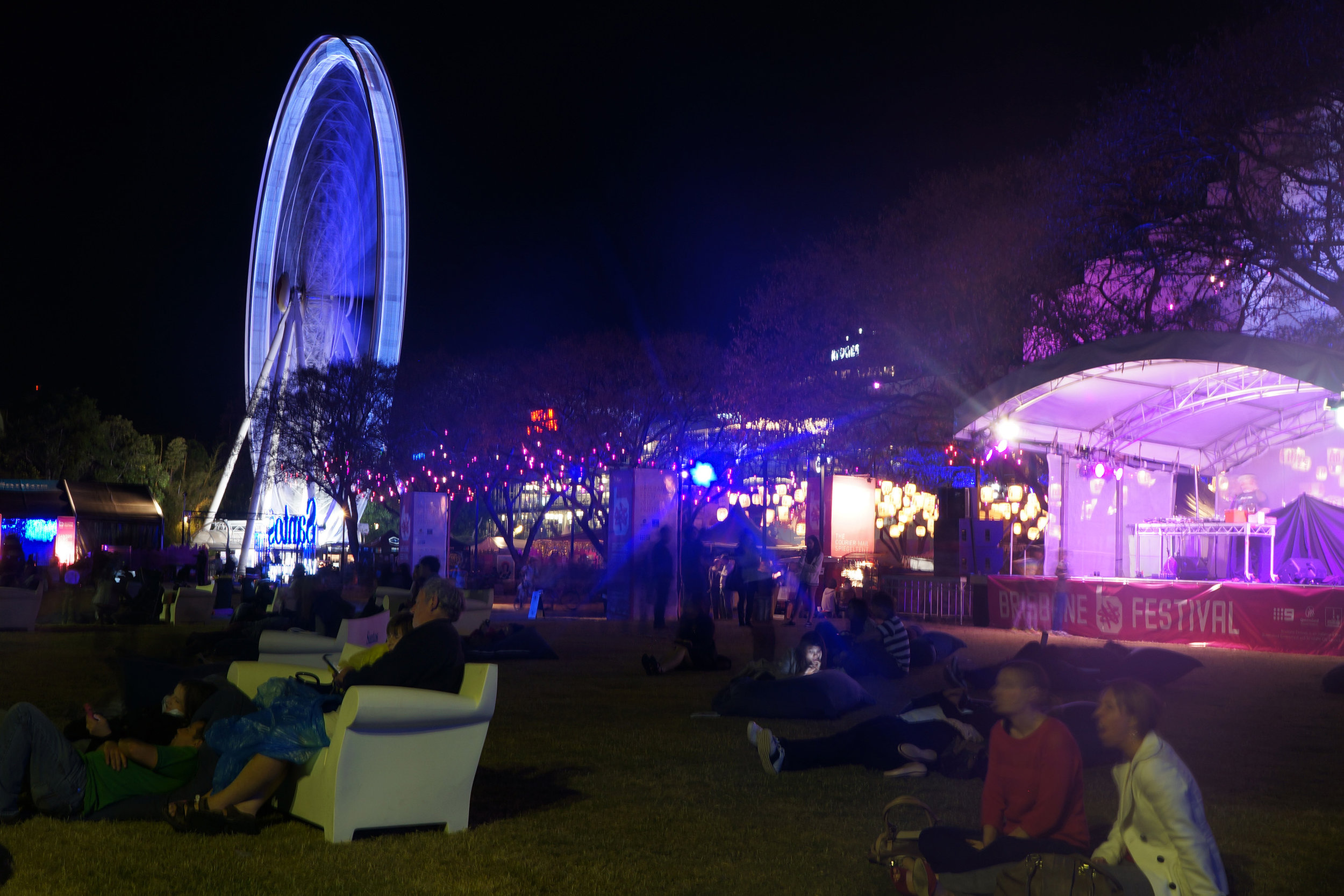 Fig 24: People watching a laser show on the Brisbane River foreshore – a special event