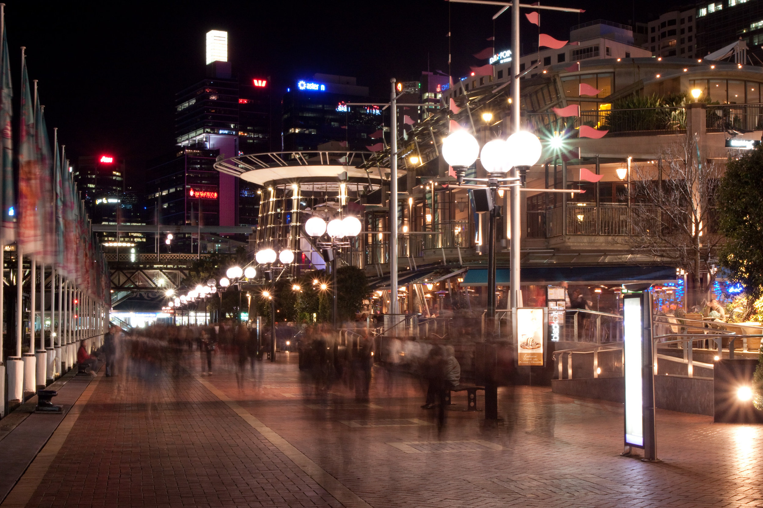 Fig 5: Darling Harbour (Sydney) at night showing the various cafes adjacent to the pedestrian way