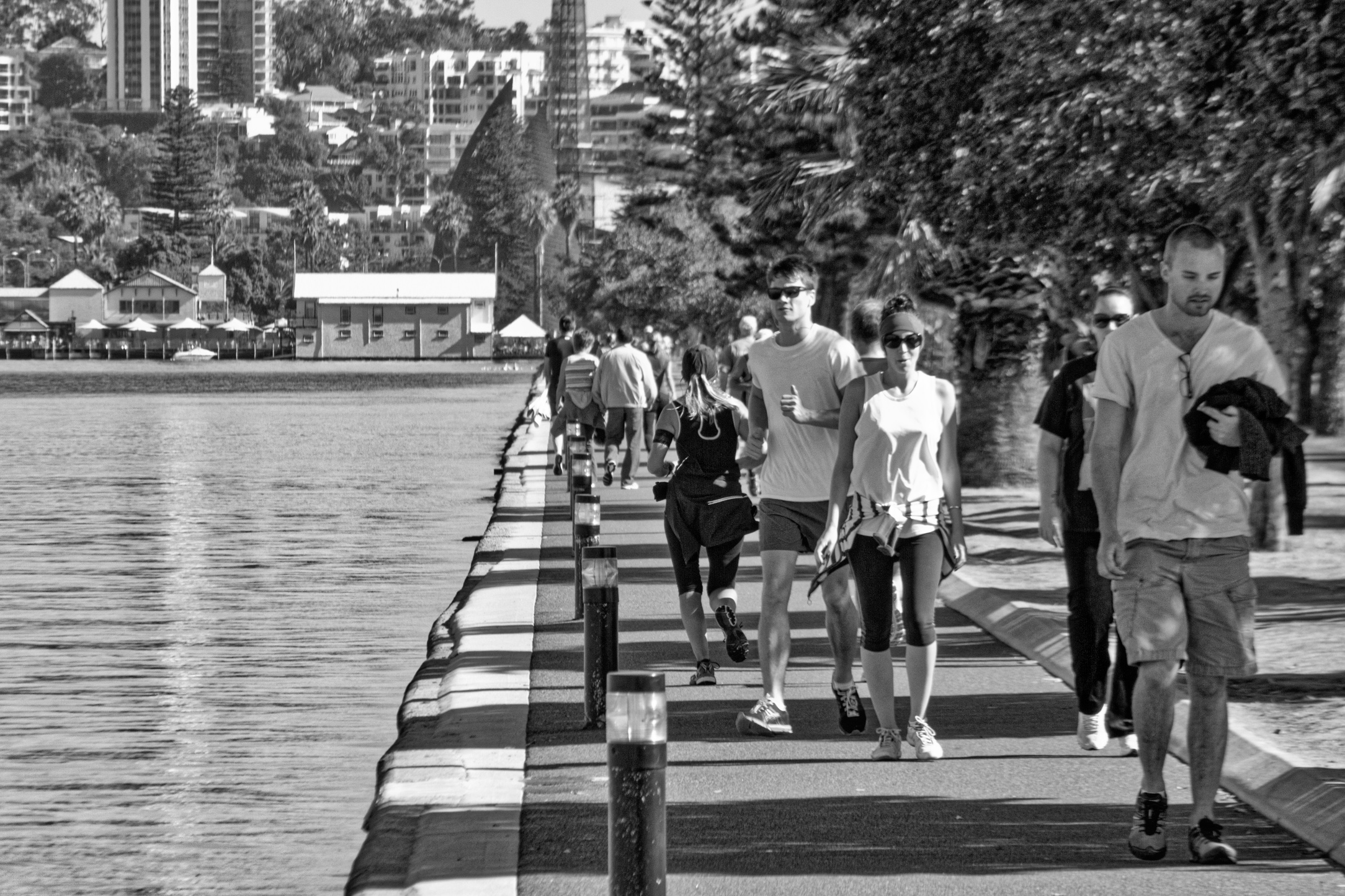 Fig 8: Early morning exercisers, Swan River Perth.