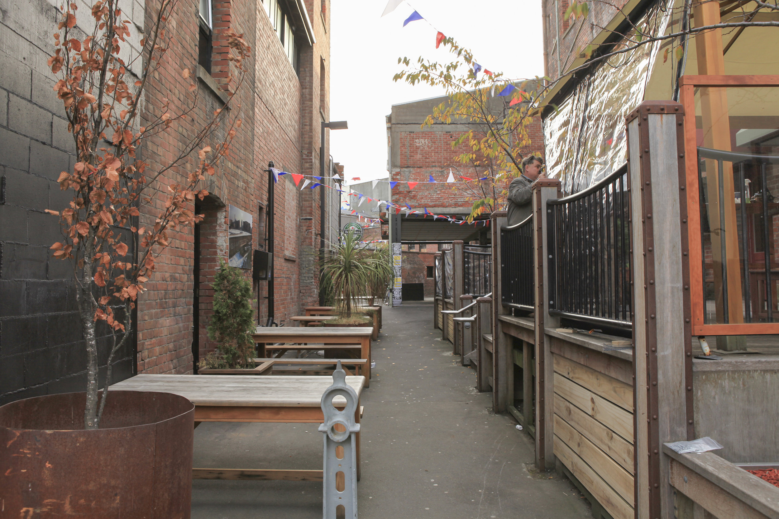 Fig 16: Commercialized laneway in Christchurch, New Zealand – in this case outdoor seating for a small pub