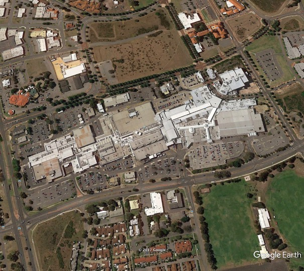 Fig 5: Aerial view of Rockingham City Shopping Centre with added on 'main street' in the north east corner