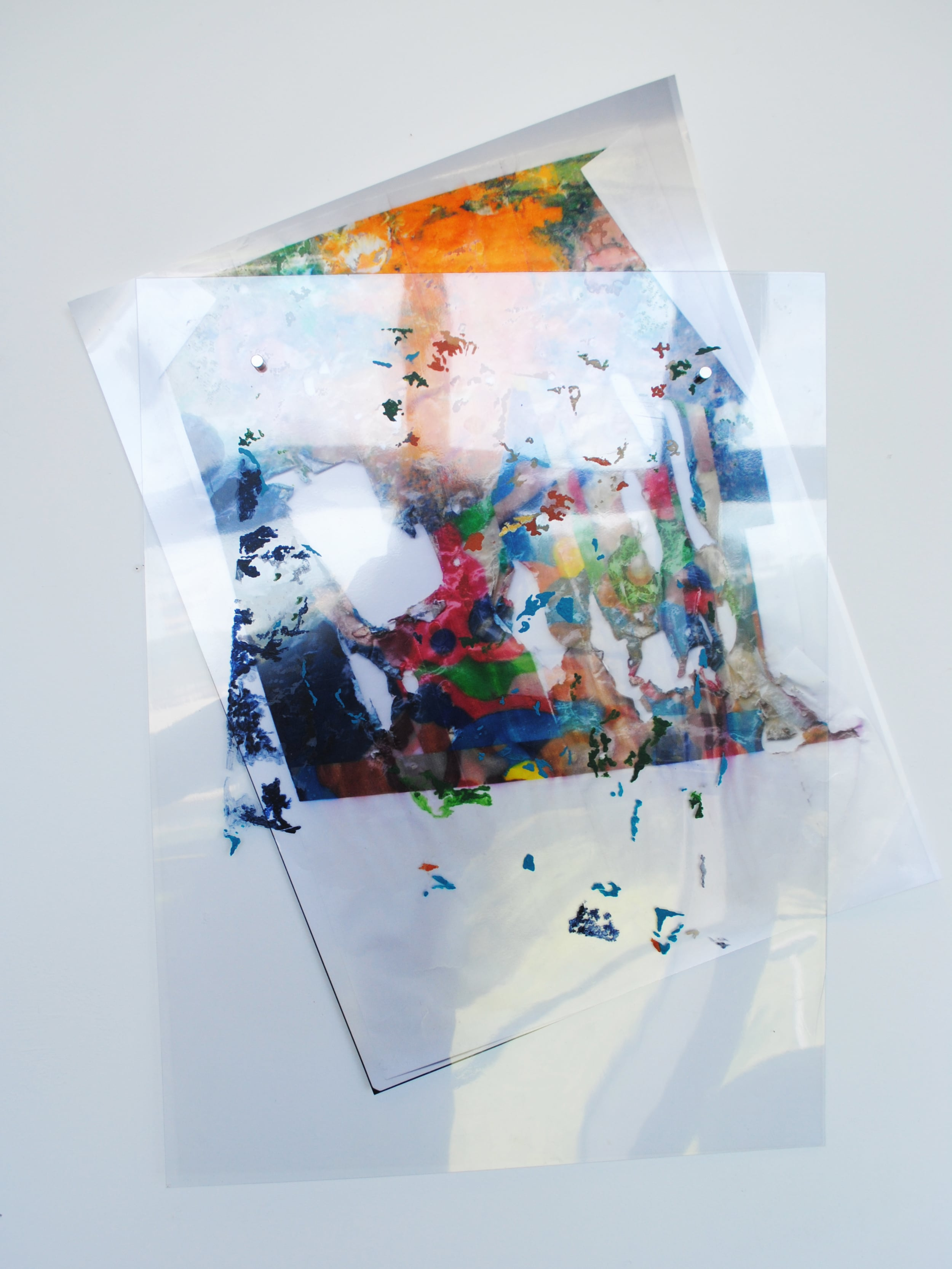 Etching Plastic ,acrylic on etching plastic; acrylic and digital print on metallic paper, 73 x 55cm   Enquire