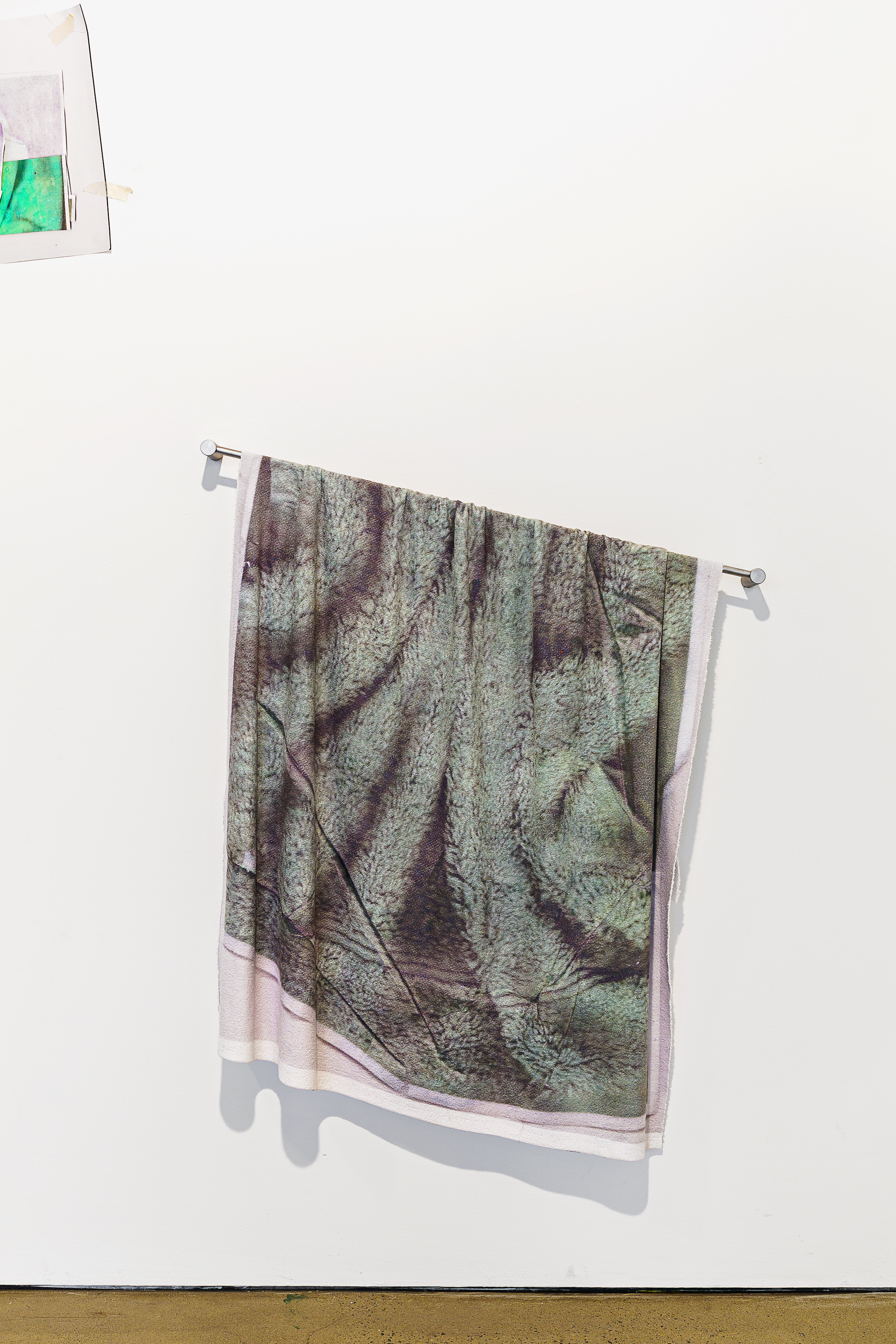 Goodnight and Good Luck ,digital print on microfibre towelling, acrylic paint and towel rail  Photo: Document Photography   Enquire