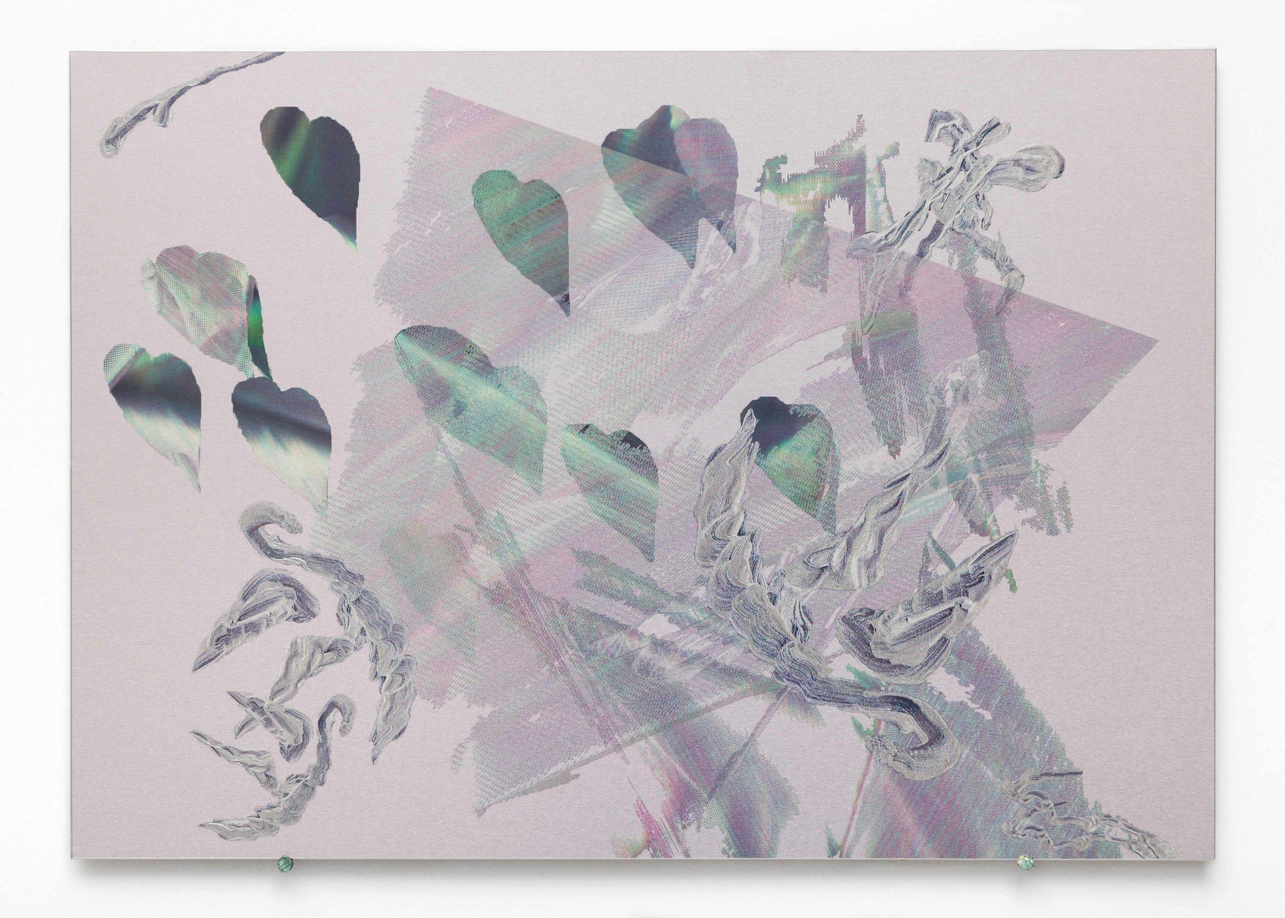 Blow Up , iridescent paint and dye-sublimation print on brushed aluminium, 30 x 42cm  Photo: Docqment   Enquire