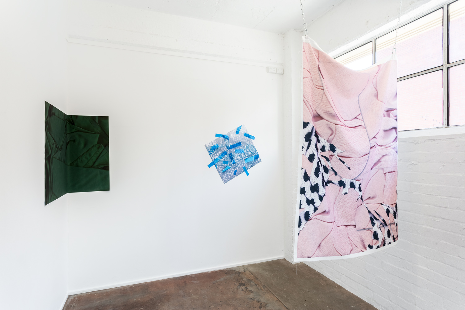 Installation view of exhibition  A Loud Cellophane at Bus Projects, Melbourne 2018  L-R: Moss Forest, Blue Line, Jumper  Photo: Christo Crocker