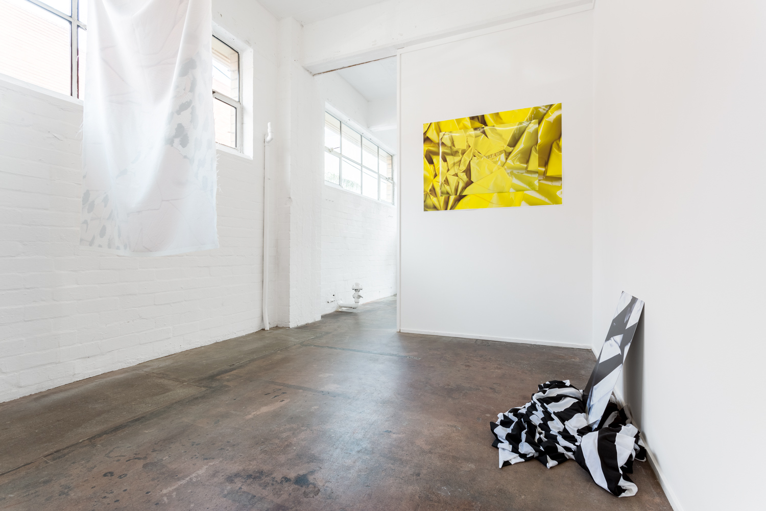 Installation view of exhibition  A Loud Cellophane at Bus Projects, Melbourne 2018  L-R: Jumper, A Loud Cellophane, WB  Photo: Christo Crocker