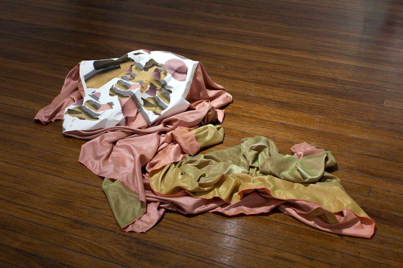 Yellowpink , 2017, inkjet print on Tyvek, silk, dimensions variable  Photo:Finn Marchant & Nicholas Aloisio-Shearer   Enquire