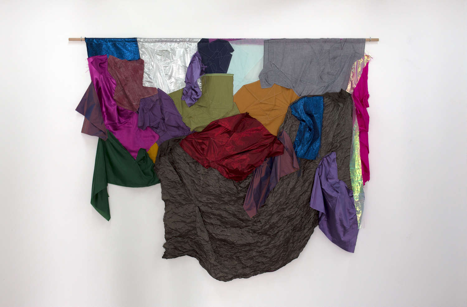 In soft fabric, you bury yourself , 2019, silk, cotton, linen, polyester, thread, Tasmanian oak dowel, cup hooks, 187 x 240cm  Photo: Xavier Burrow