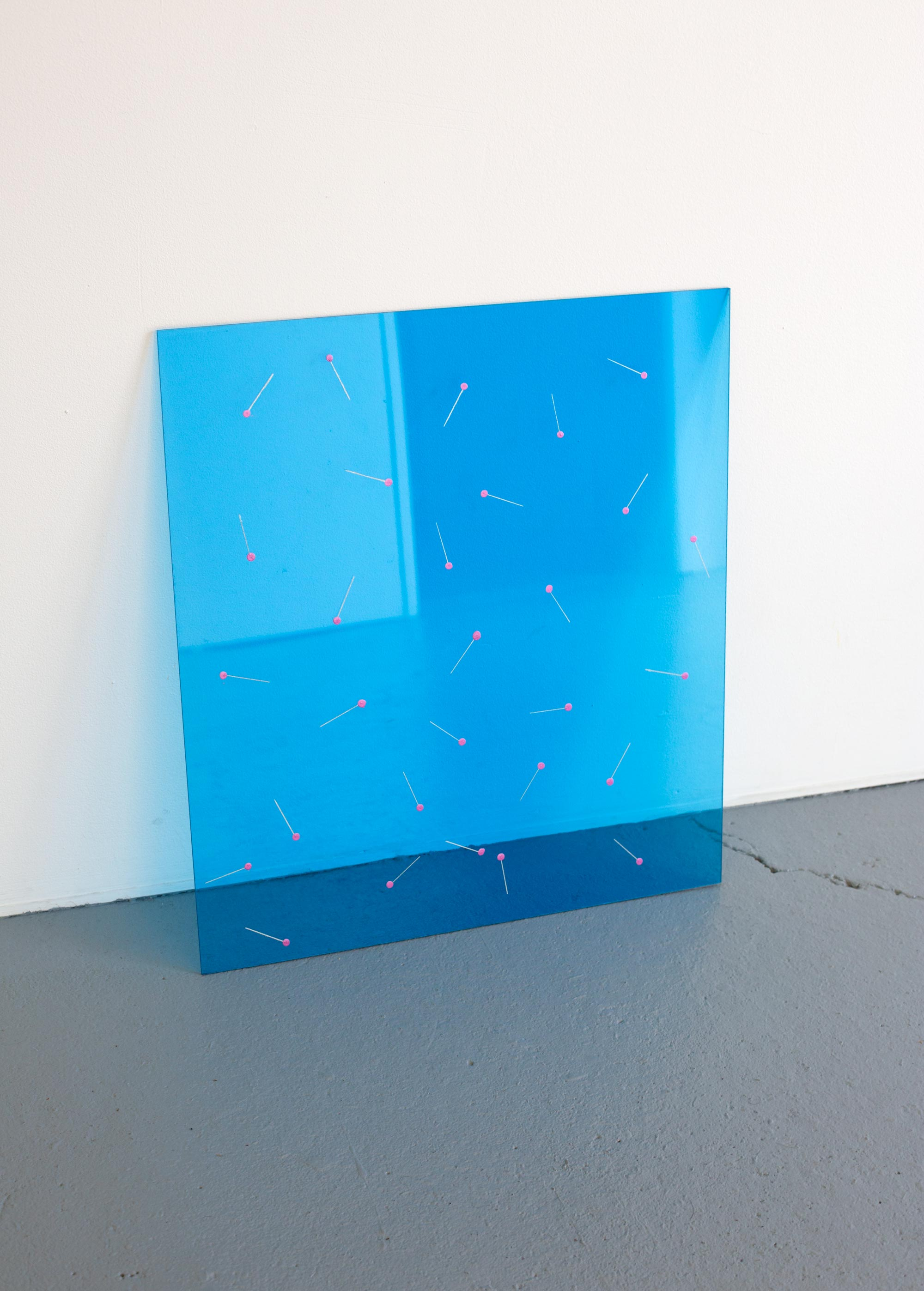 Sewing Room Floor 2 , 2019, acrylic paint and iridescent ink on blue Perspex, 50.5 x 45cm  Photo: Xavier Burrow
