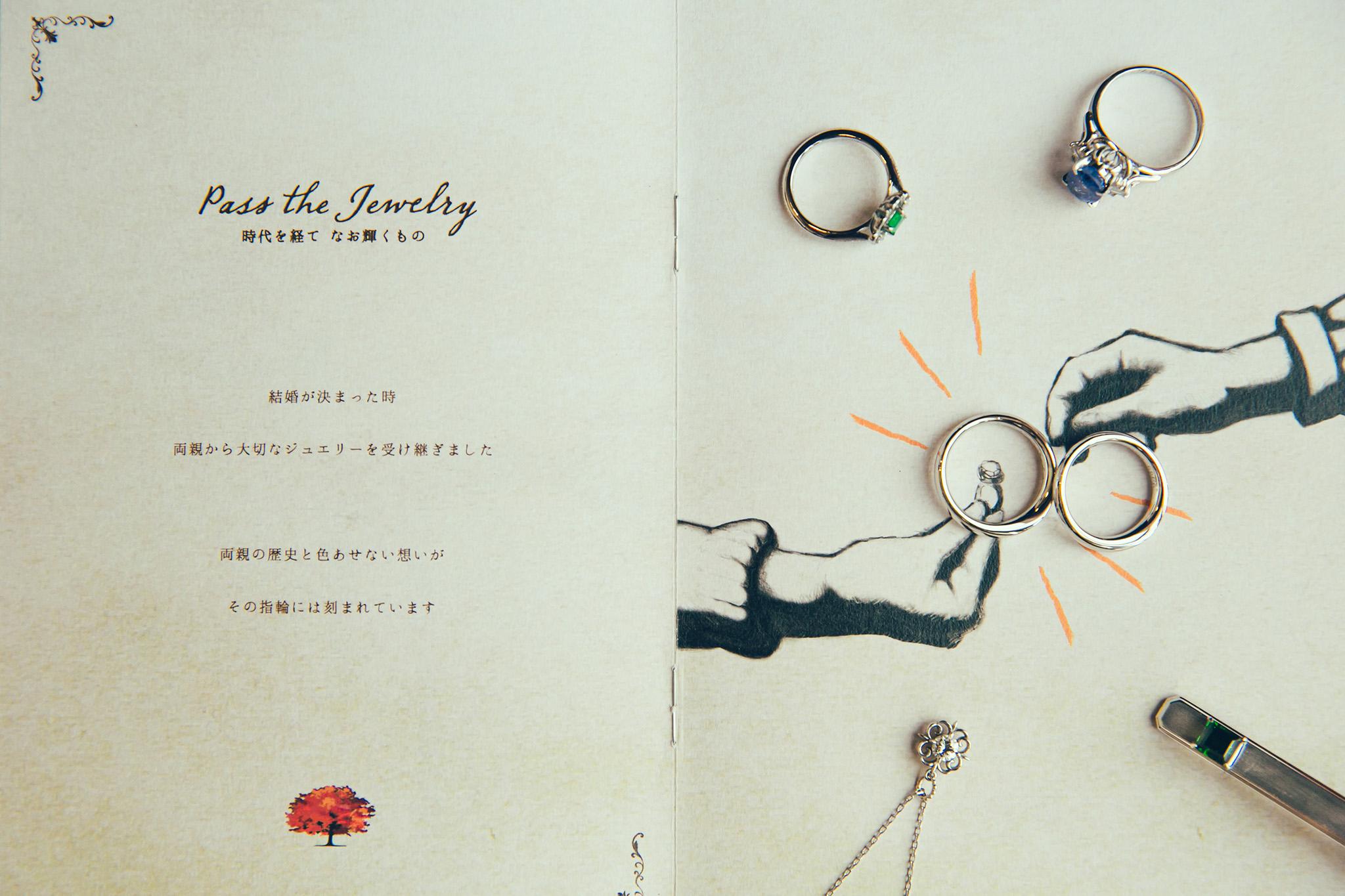 """Pass the baton""というコンセプトの結婚式では、両親や祖父母から受け継いだジュエリーを、参列者用の冊子の中で見つけた""Pass the Jewelry""というページ上に配し、二人だけのオリジナルな一枚を演出した。"