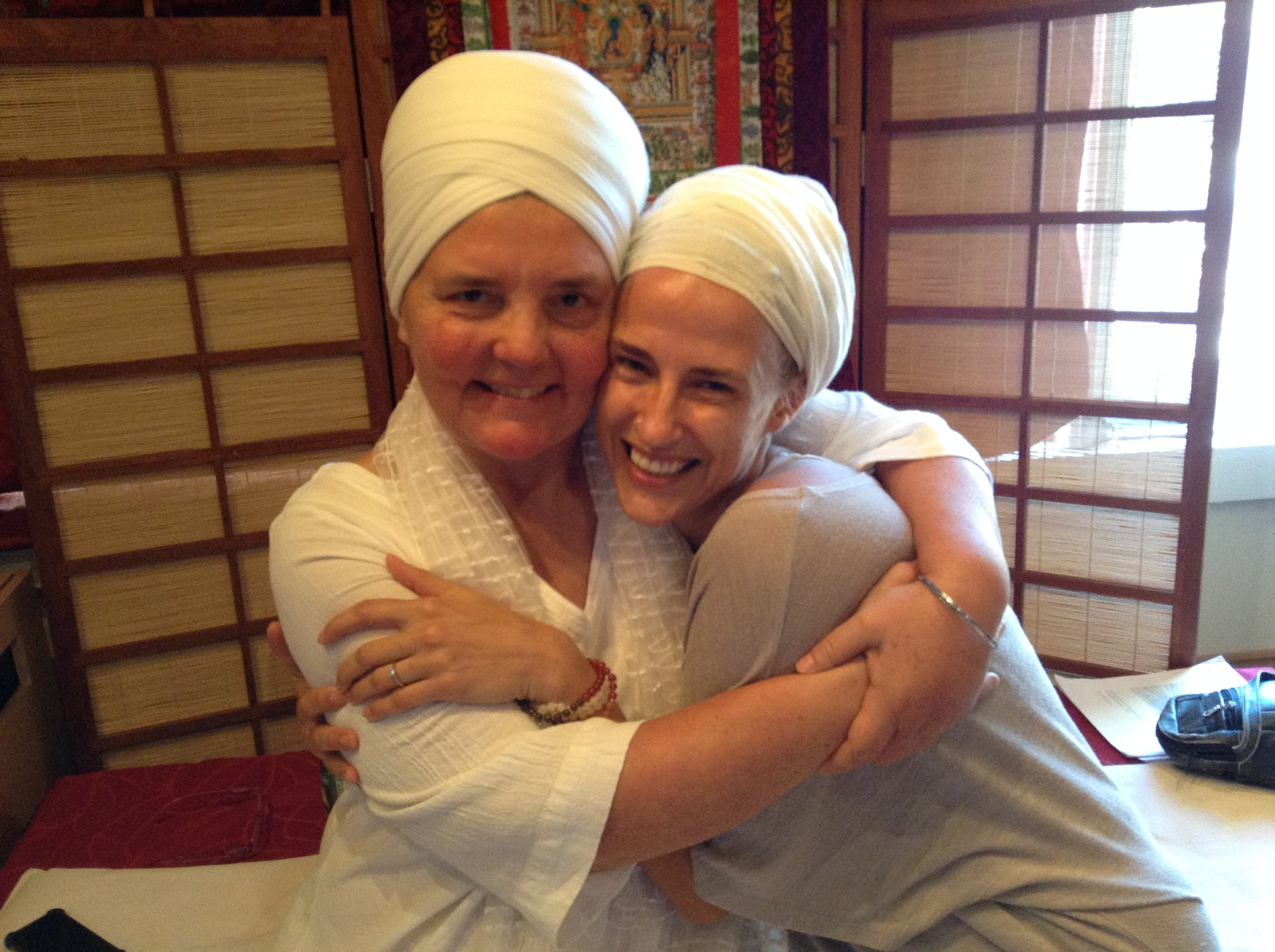 """With my much-loved and respected Teacher,  Sat Dharam Kaur , a woman I am so blessed to continue to train with. Yogi Bhajan himself taught her, calling her a """"teacher of teacher and healer of healers."""""""