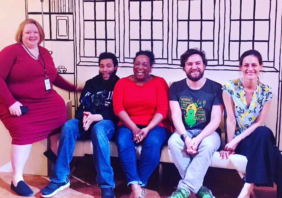 Lynn Lammers, Dan Johnson, Casaundra Freeman, Daniel Helmer, and Brenda Withers (playwright) after the April 6th performance.