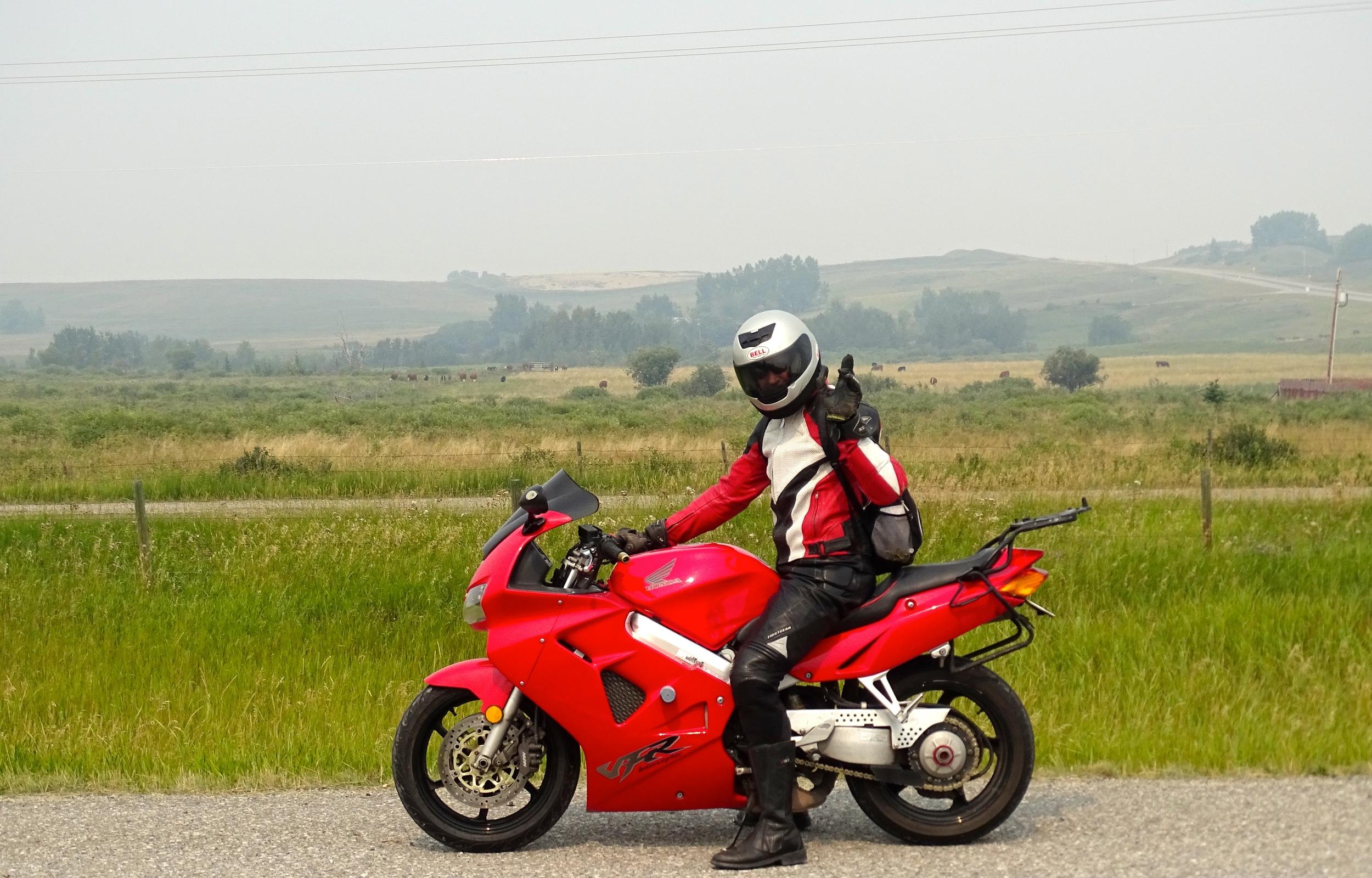 Loni on his bike.