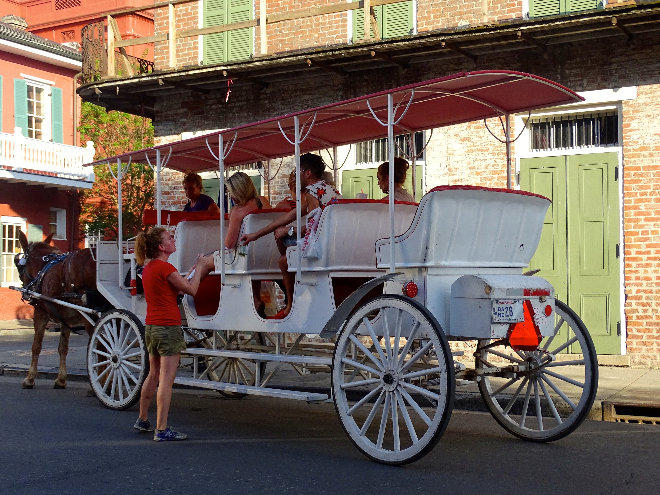 Bar Server Serves Tourist Filled Carriage