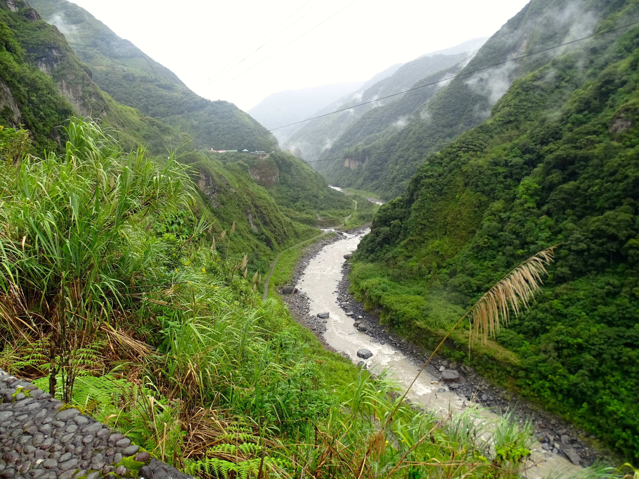 Canyon of the Rio Pastaza just east on Baños.  Later in the day I found my way down to the road below.