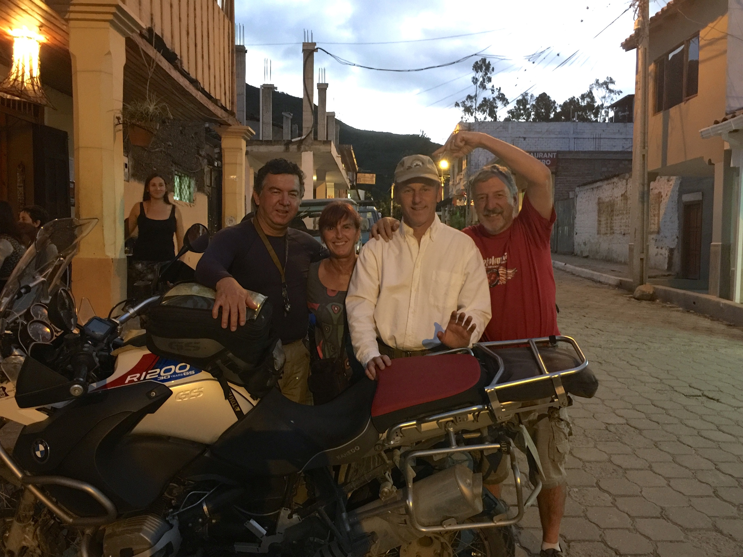 We were so excited to arrive at Scott Nelson's home in Vilcabamba! Keith is pointing to his Chief Joseph Rally hat.