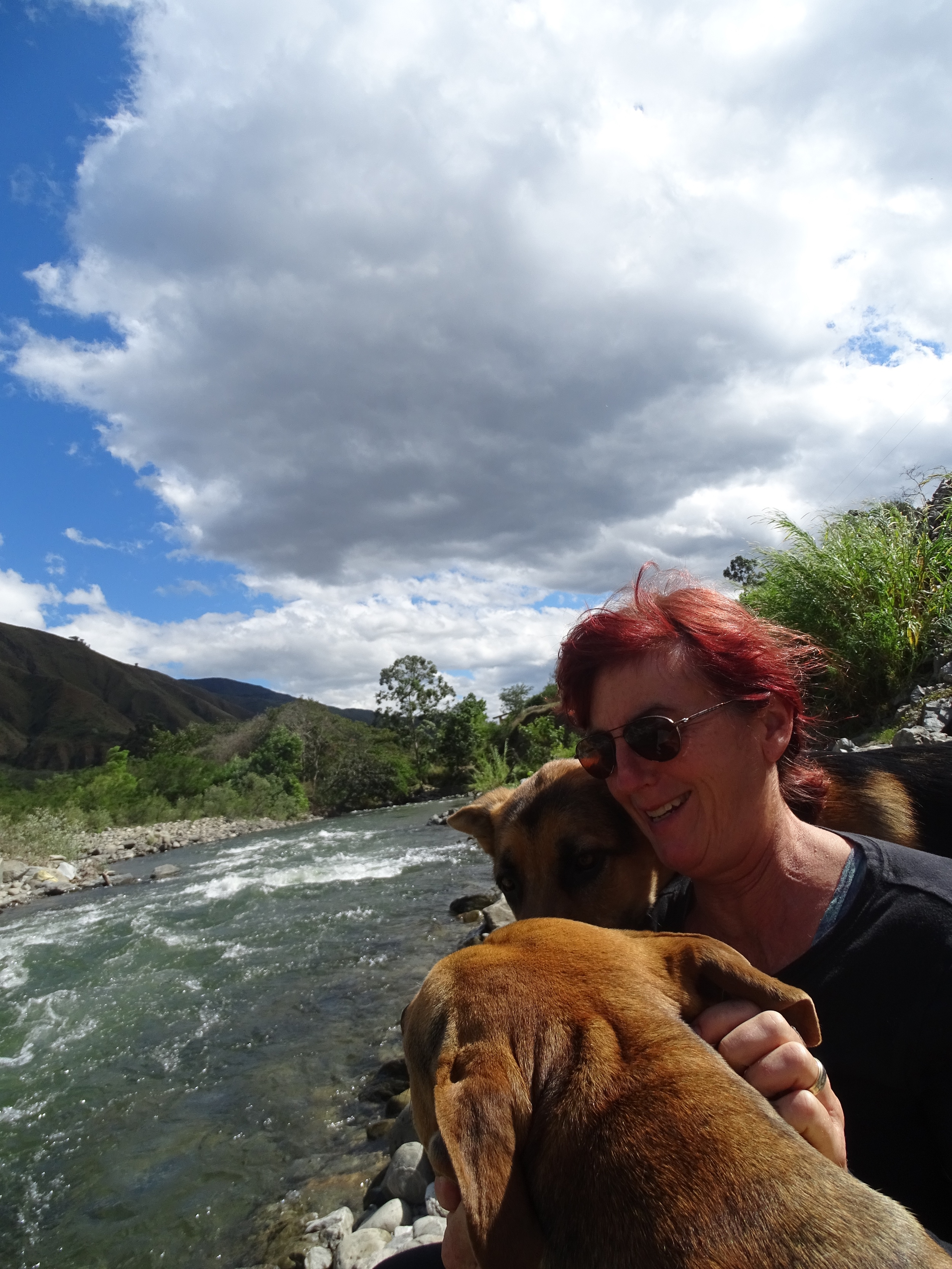 Hanging out by the river with the dogs.