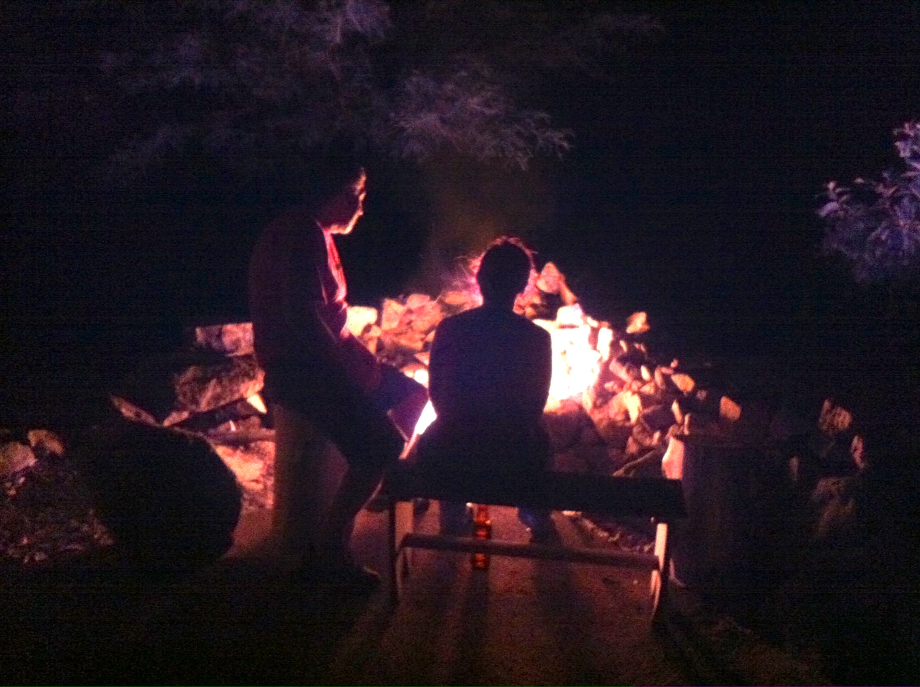 We've been grilling over the fire next to Scott's house.