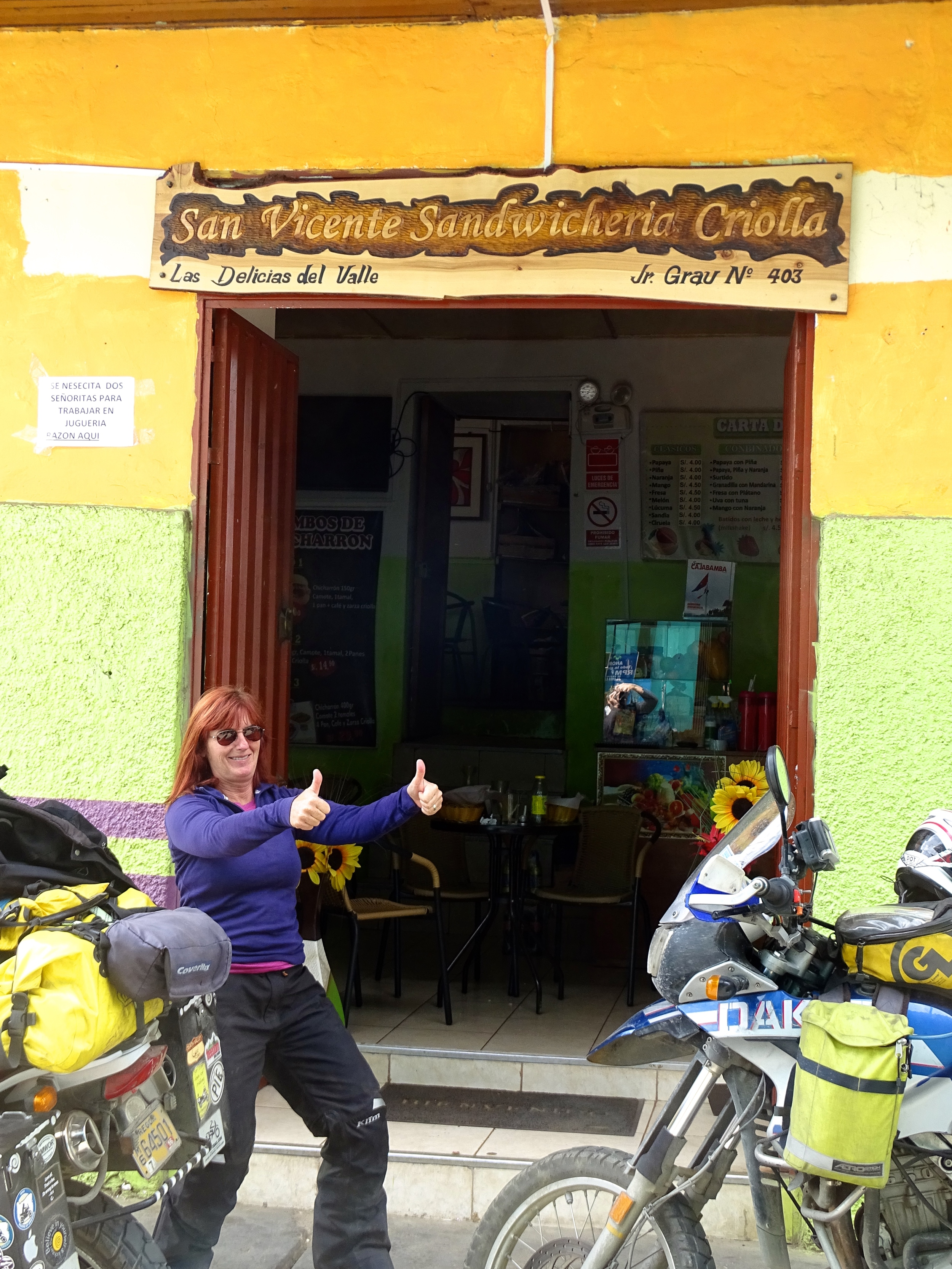 Thumbs up for this delicious cafe discovered as we rode through this tiny town.