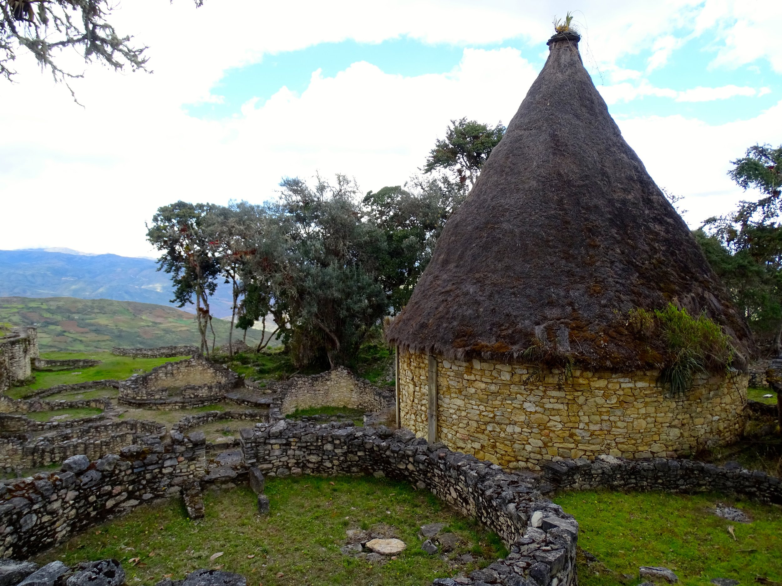 An example of what the roof design looked like, using grasses over wood frames in a thatch-like manner.