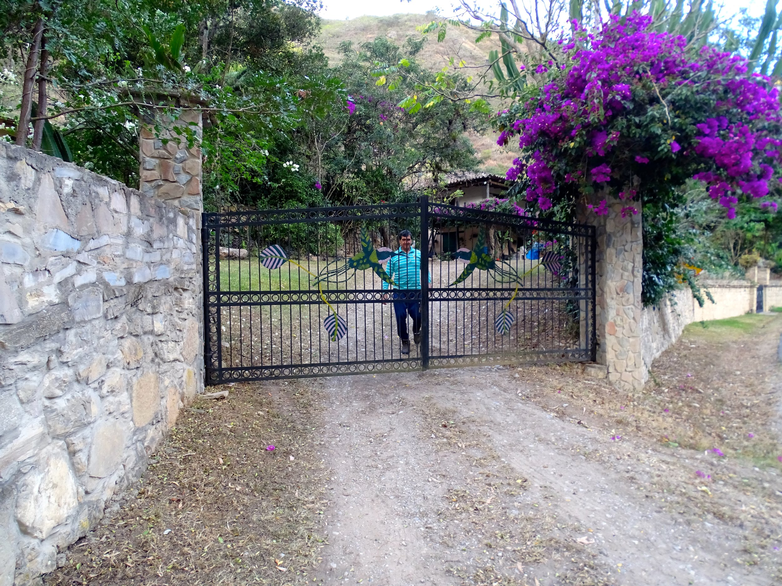 The gates to El Chillo, our very luxurious hostel we splurged on.