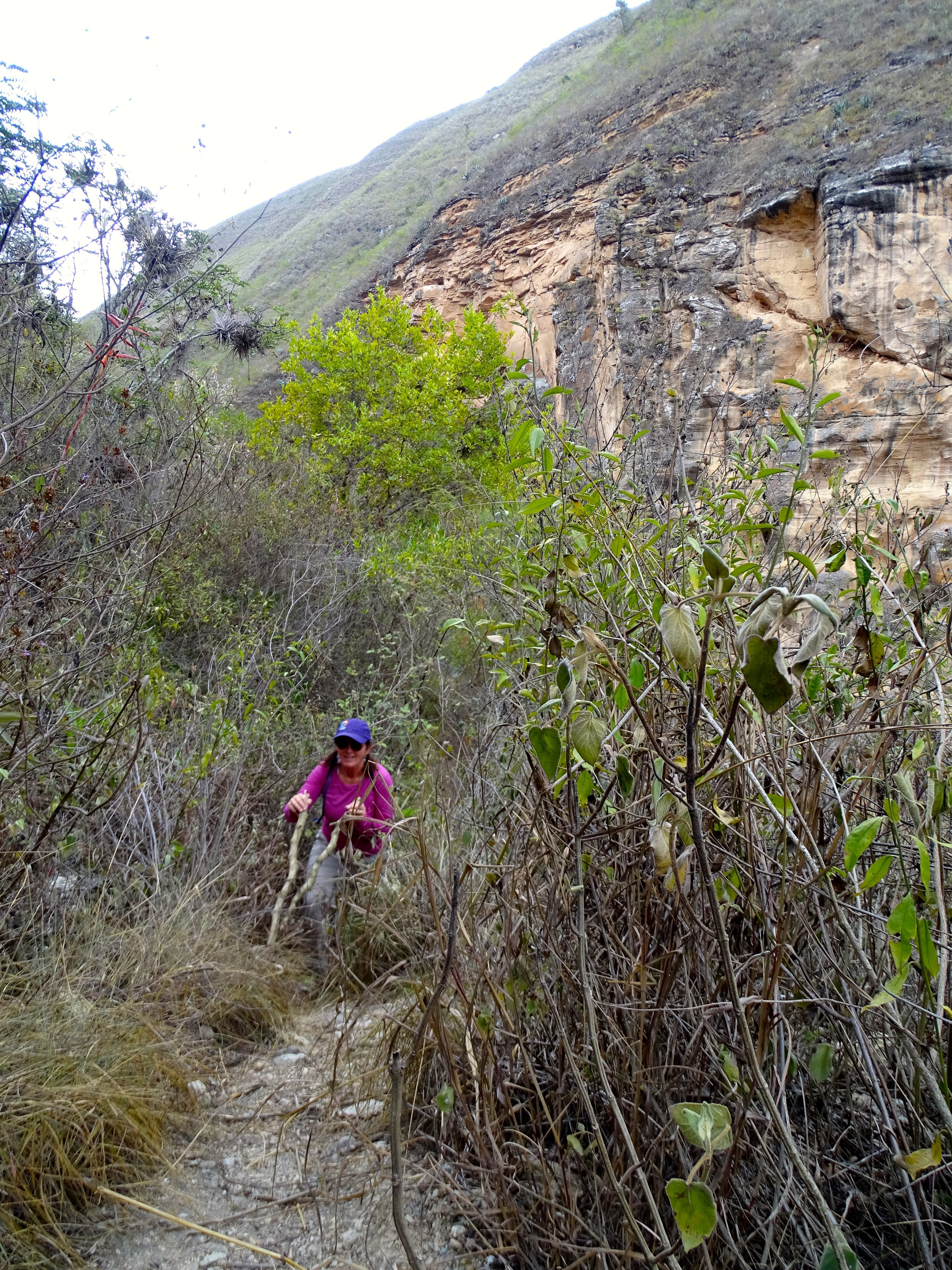 Jalene struggles up the steep climb out.  Water-dowsing proved unsuccessful.