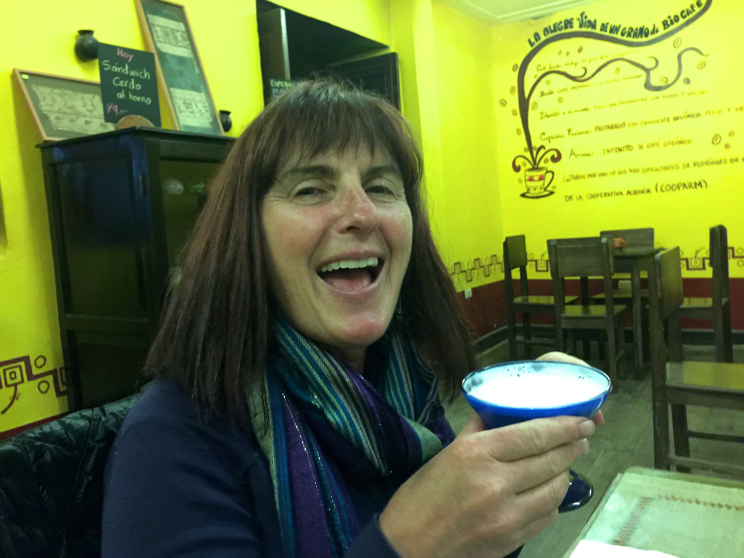 Late in the hike out, Jalene proposed we should all have Pisco Sours, and wasted no time in taking a leadership role. (Cafe Fusion, Chachapoyas)