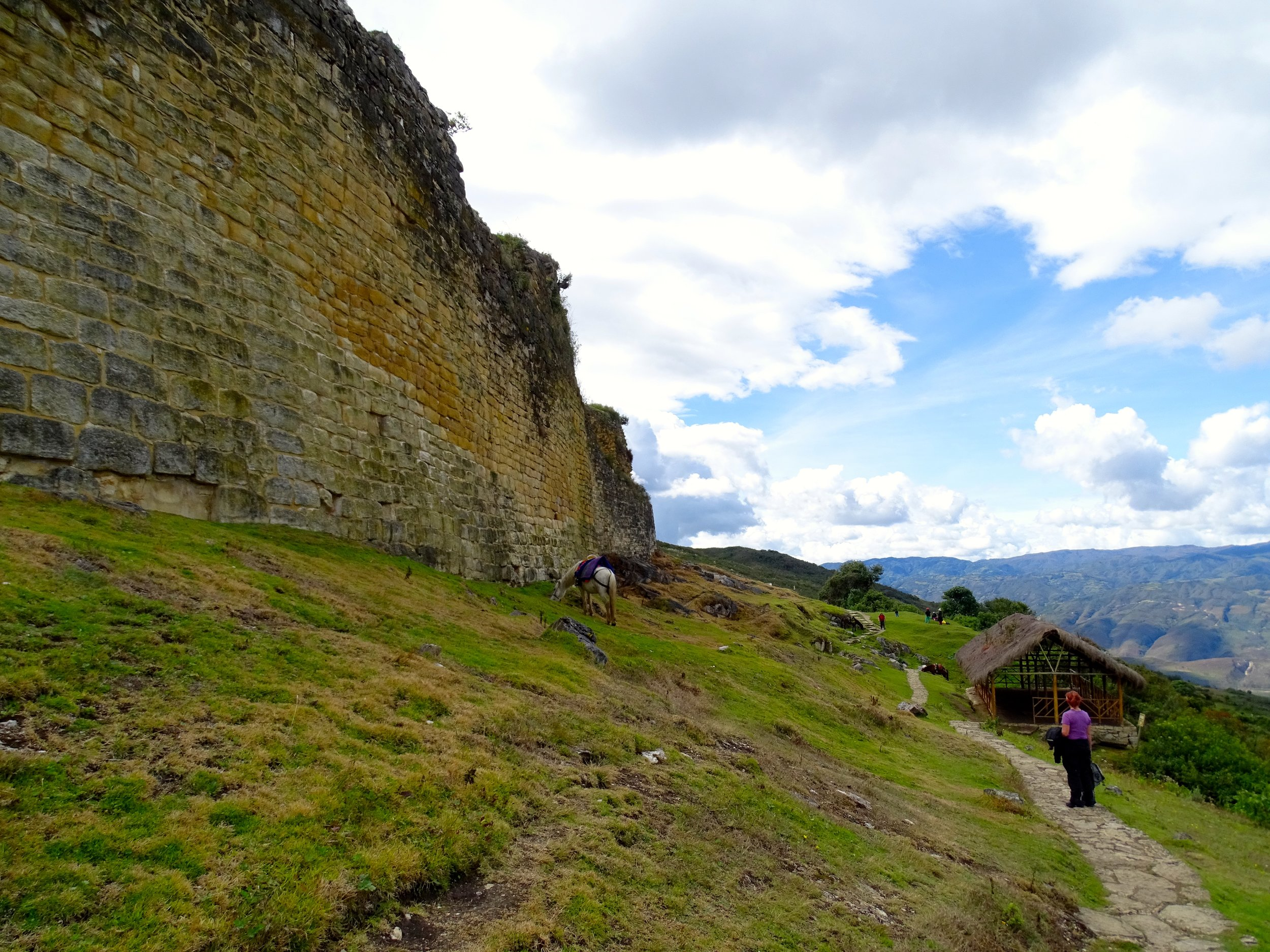 Strolling back along the outer wall.