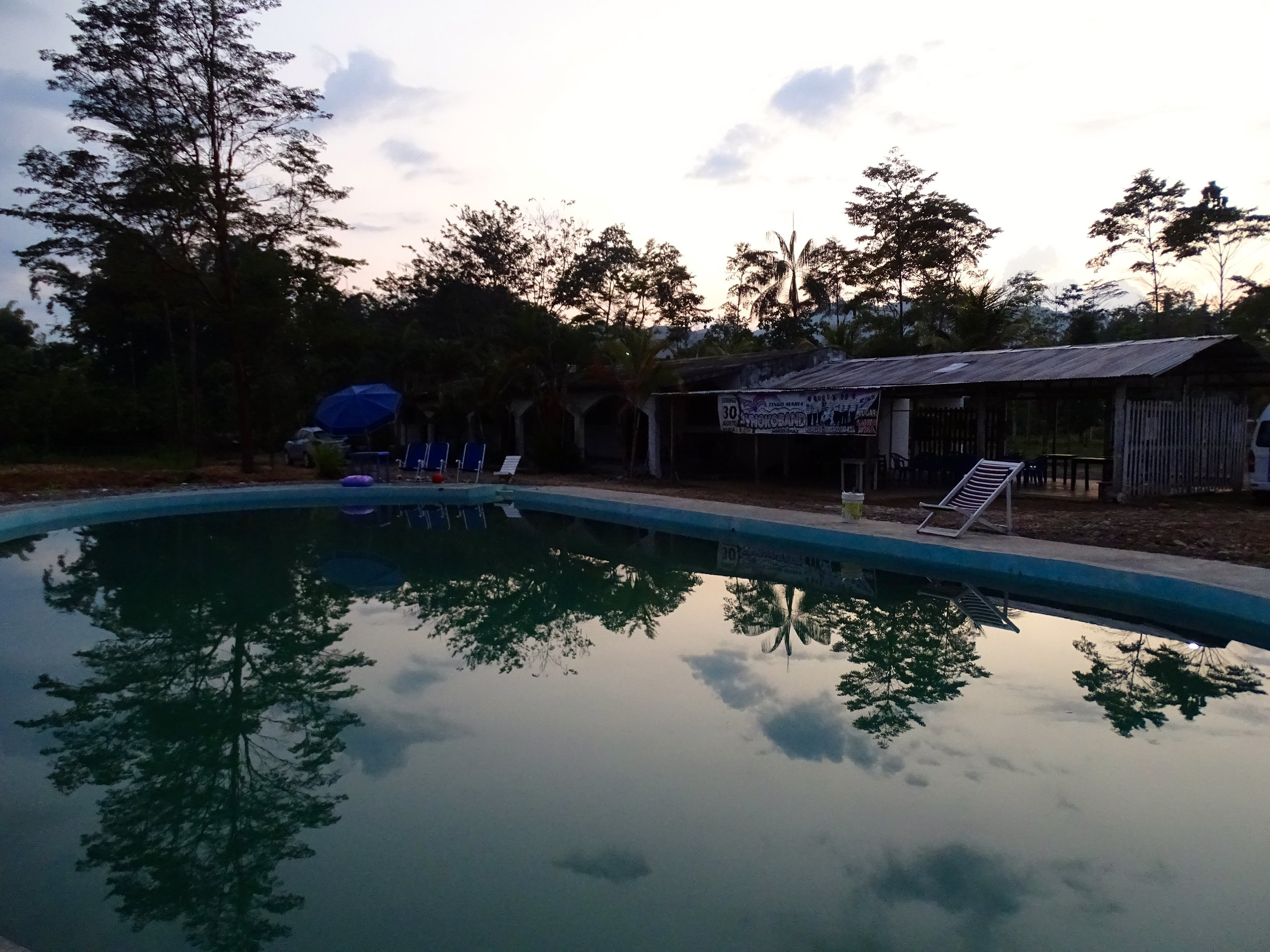 The swimming pool was a bit rough around the edges but it felt great when we arrived in the hot afternoon. This photo was taken at sunrise.
