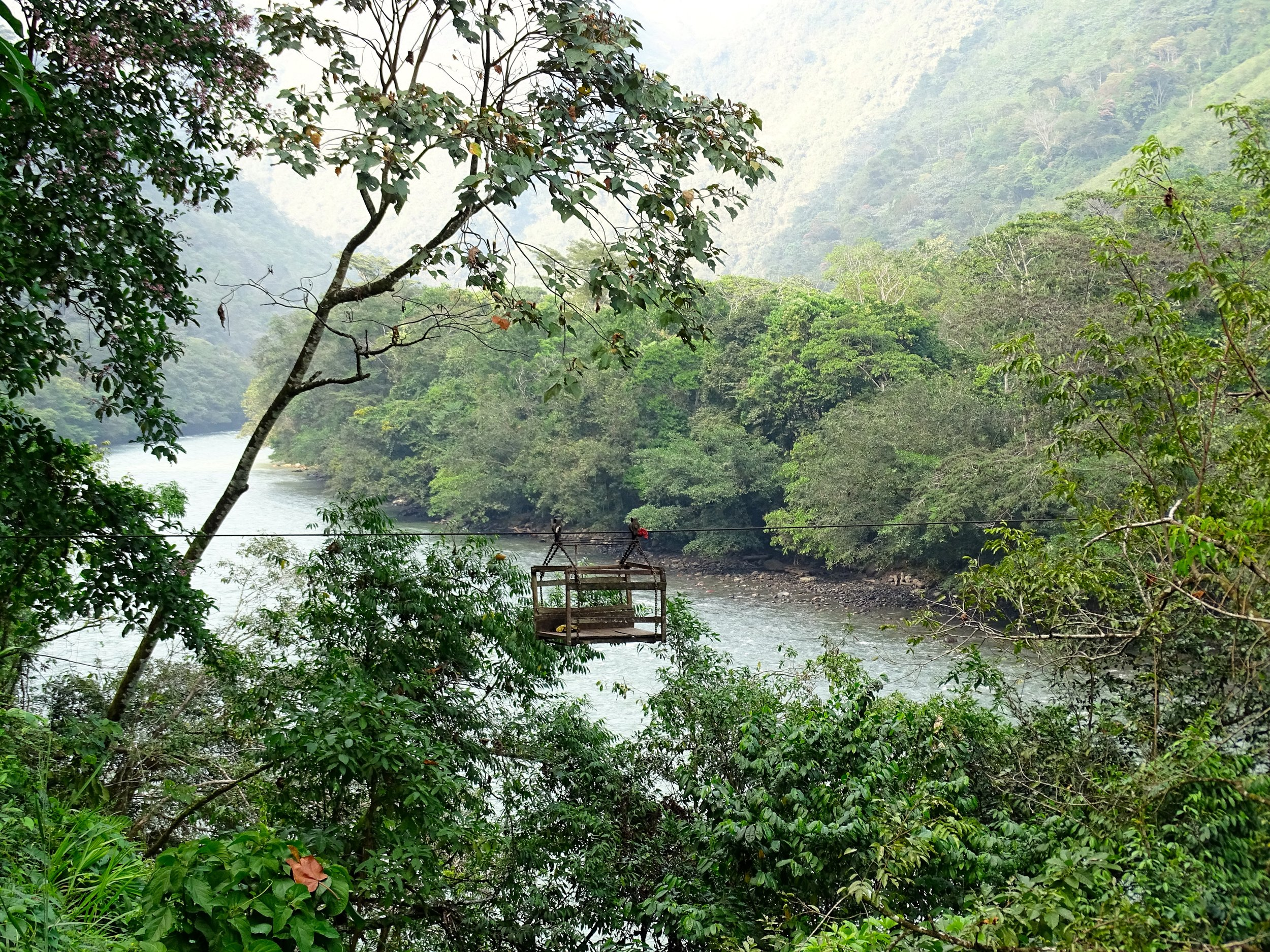 Again, we rode along the beautiful Rio Huallaga, already plenty big, well upriver of where we first saw it at Yurimaguas..