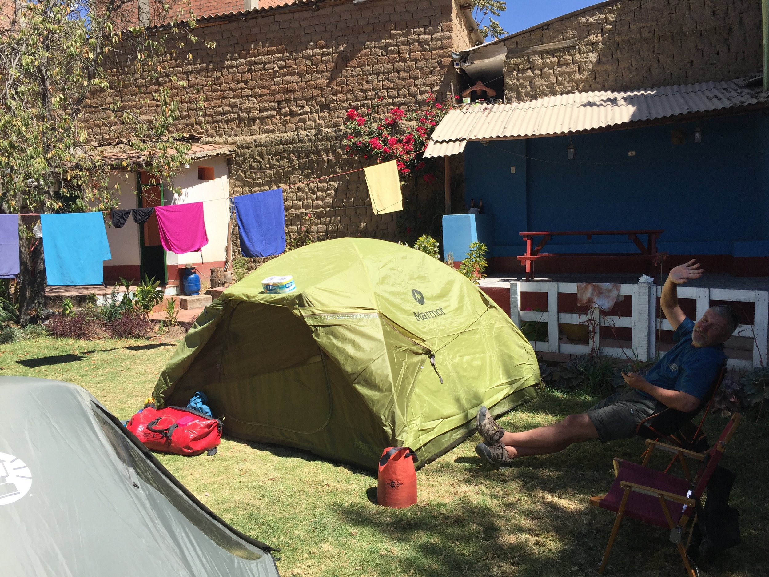 Nothing like a nice grassy spot to camp, especially with WiFi, bathrooms, and total security.  Jo's Place in Huaraz, Peru.