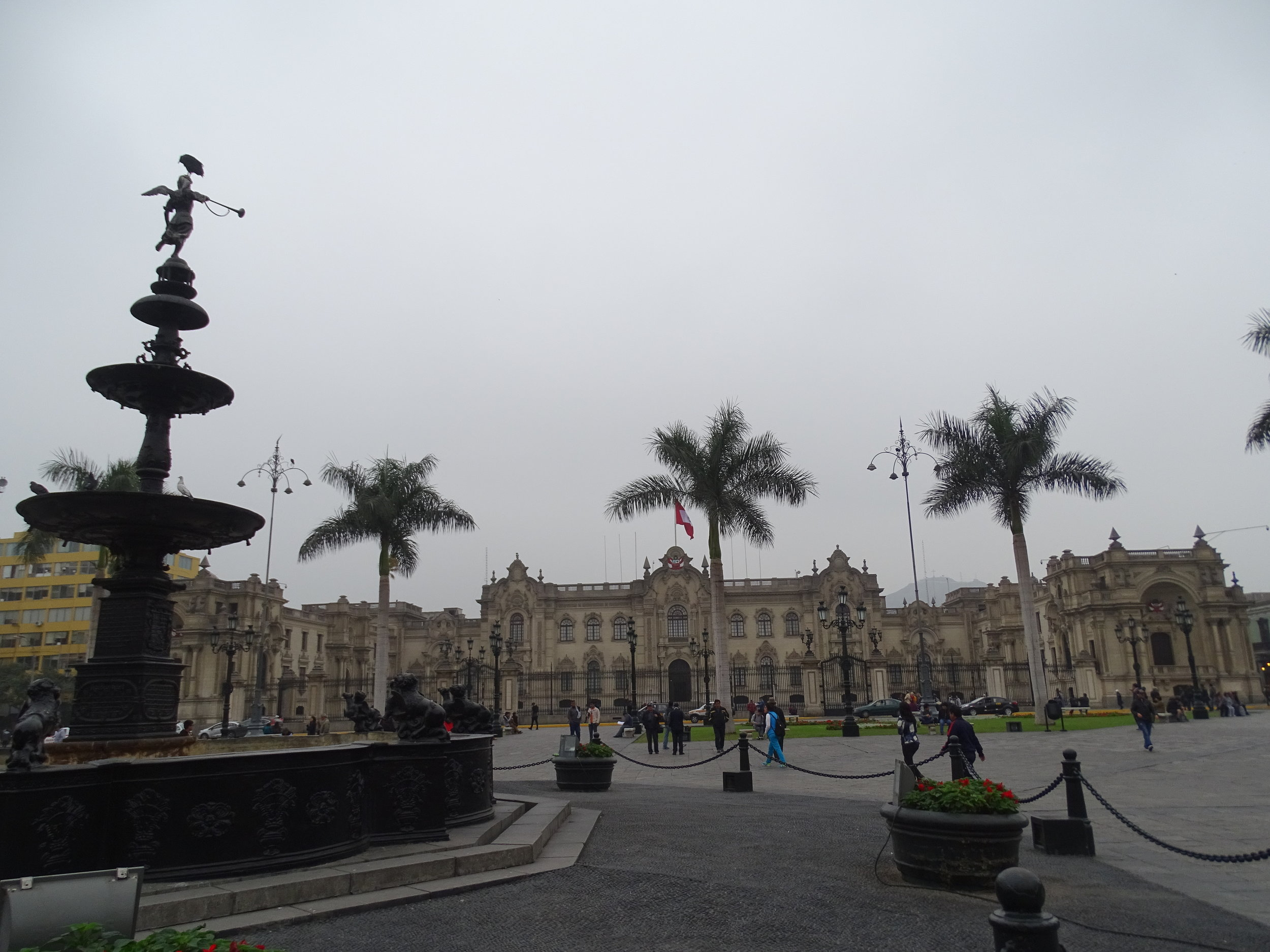 The central Plaza de Armas in Lima, with it's beautiful architecture.