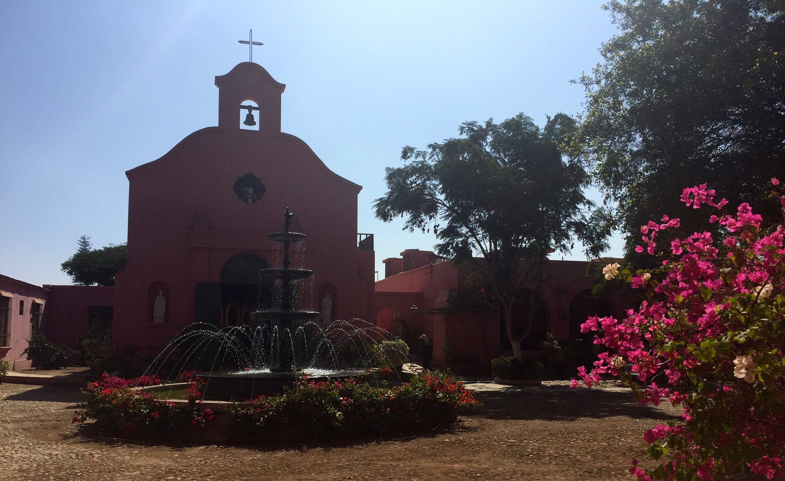 The old church and hacienda buildings.