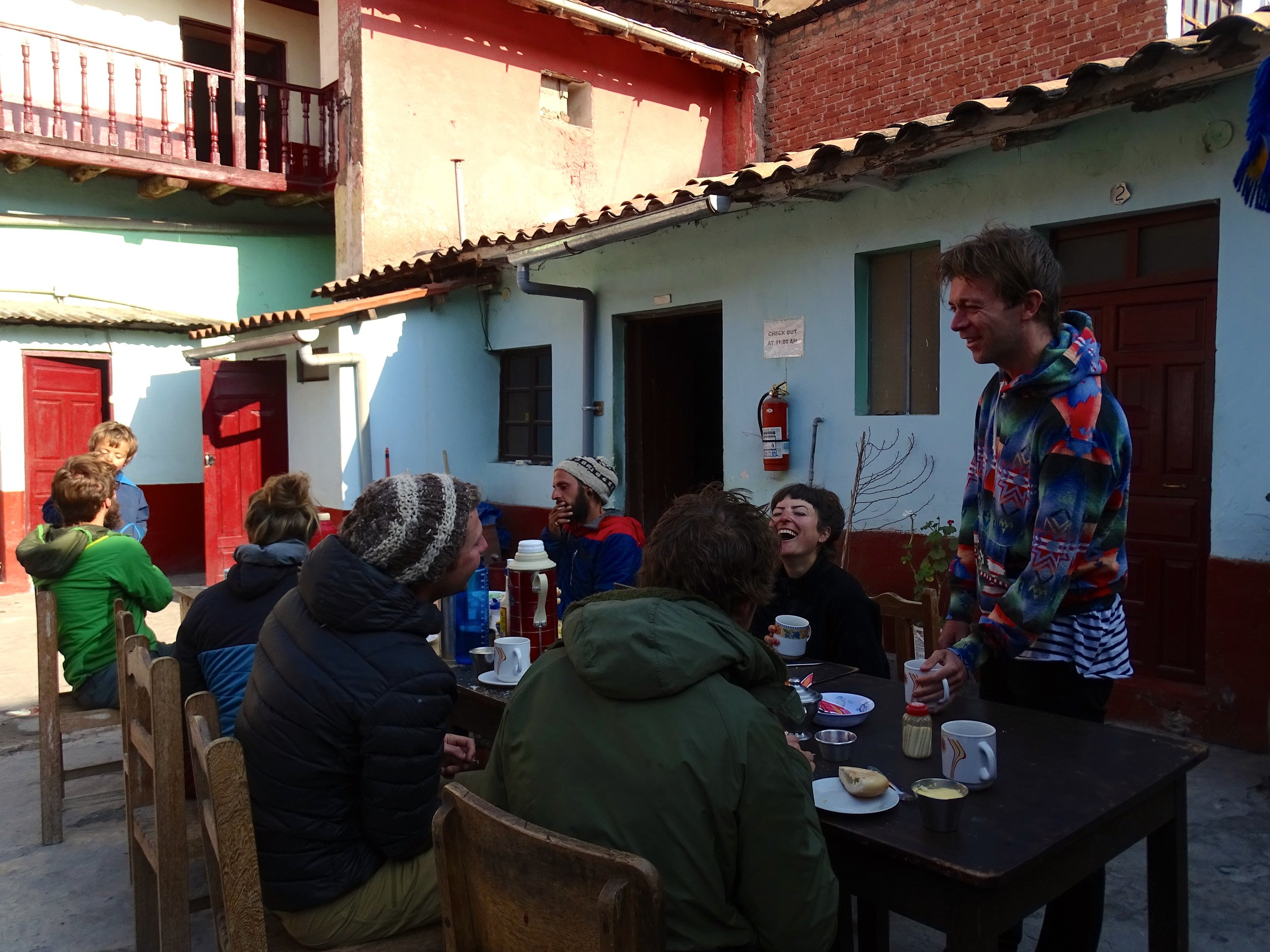 Breakfast at our hostel, where everyone gathered around the tables in the courtyard and enjoyed the morning sun (once it got there).