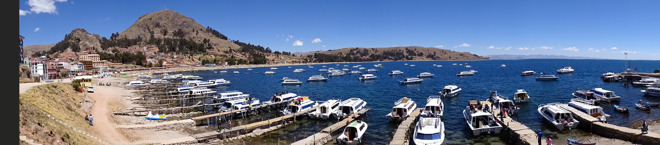 Panorama of the Copacabana waterfront on Lago Titicaca.  A beautiful town to visit, for sure!