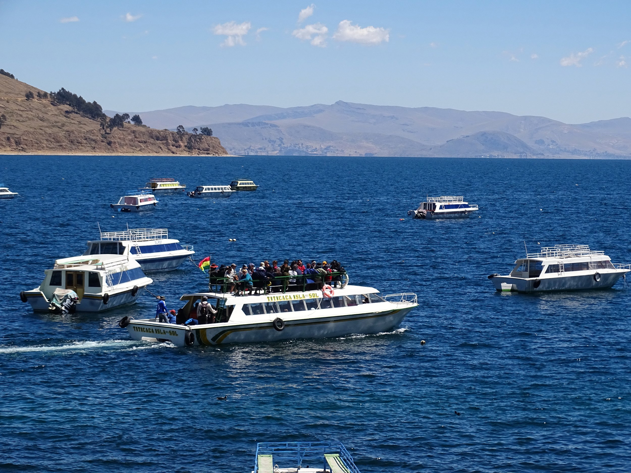 The tour boat out to Isla del Sol was incredibly overloaded and top-heavy in my view.  But hey, we're in Bolivia.