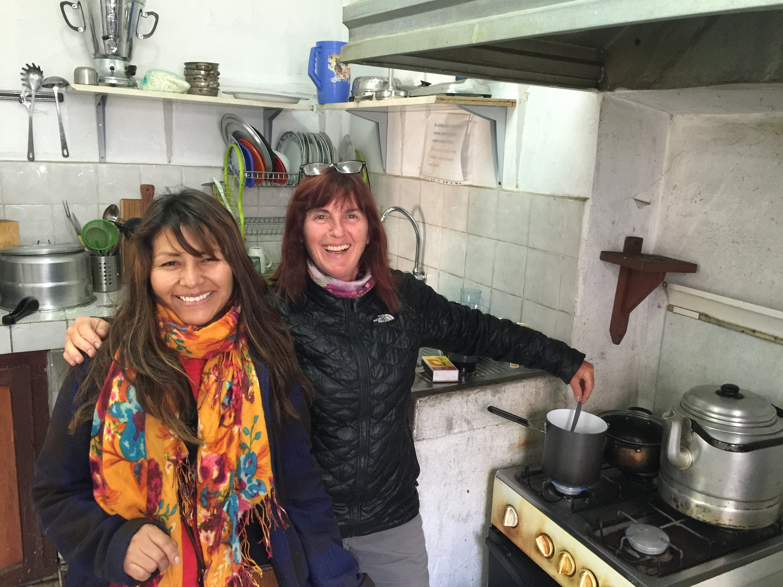 Our hostess in Potosi, helping us make breakfast in her kitchen.