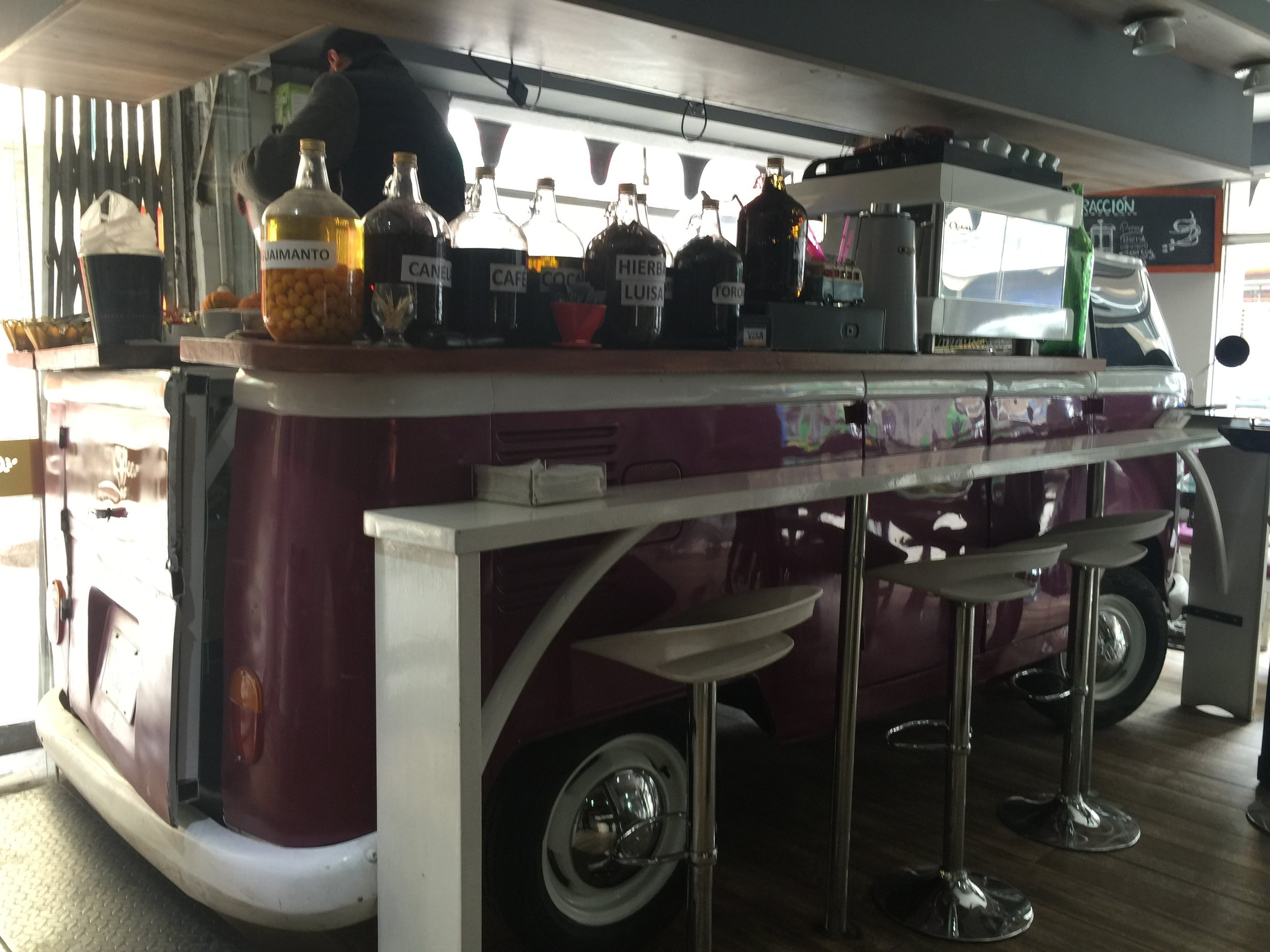 Yes, this coffee bar is a real Volkswagen bus.