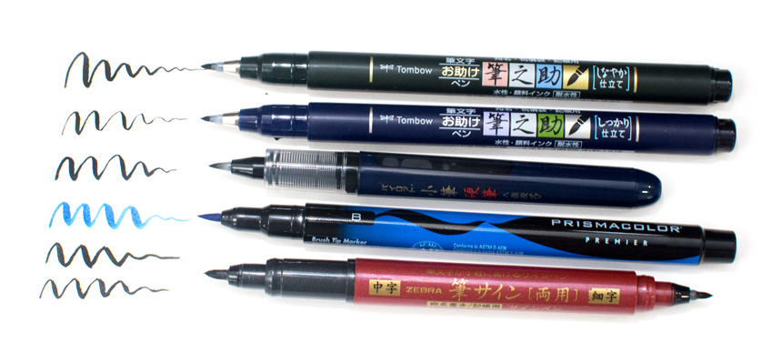 Recommended brush lettering tools, brush pens for calligraphy.