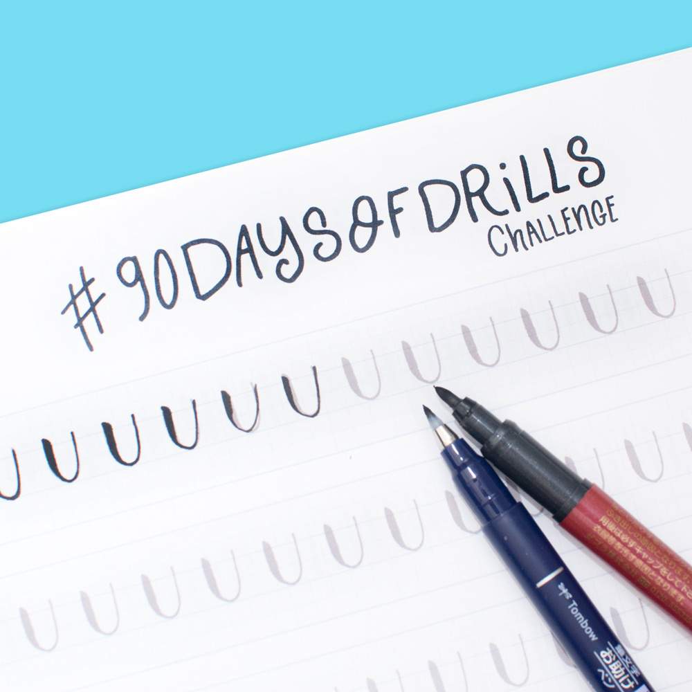 Take the brush calligraphy 90 day Instagram drill challenge #90daysofdrills with @twoeasels #lettering