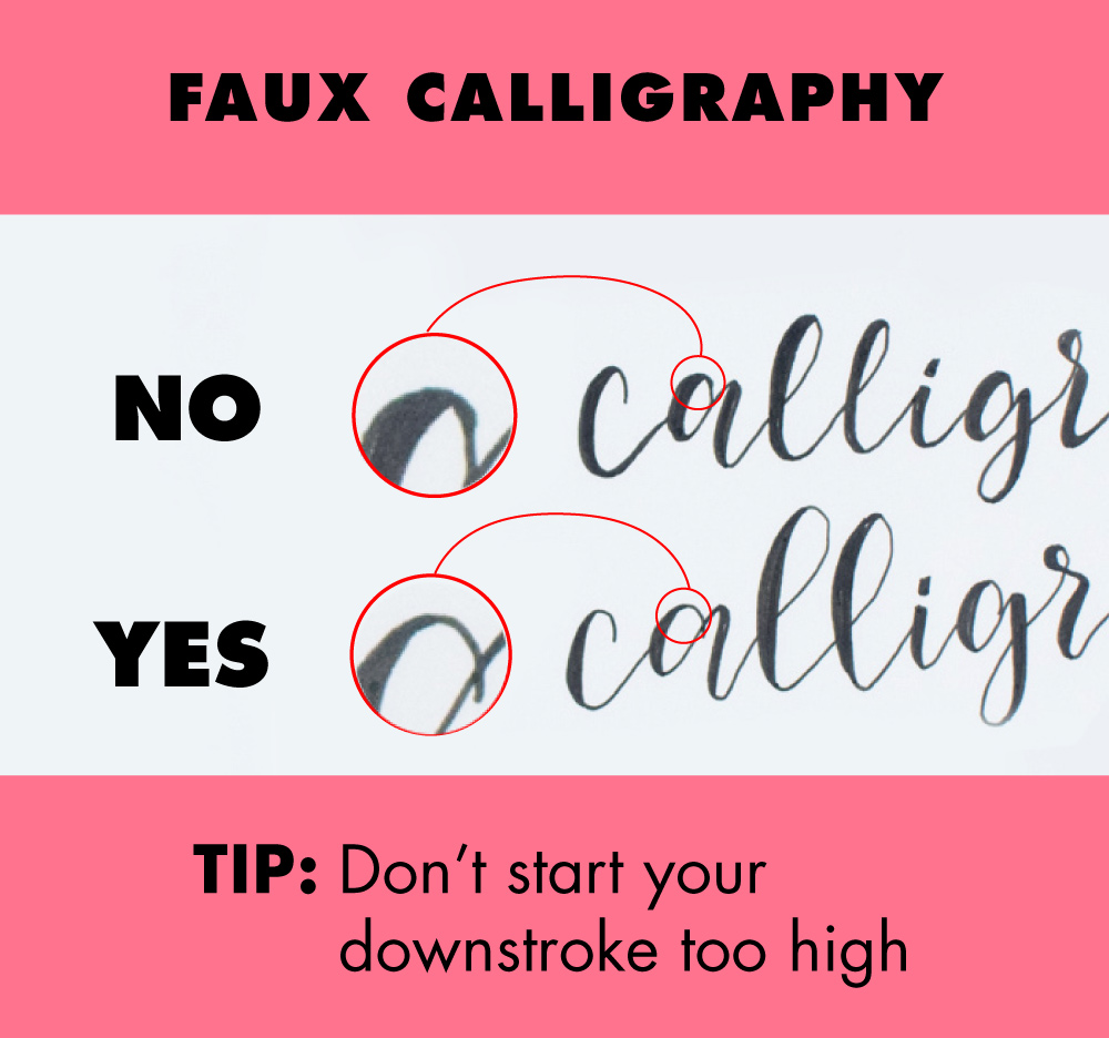 Tip on faux calligraphy
