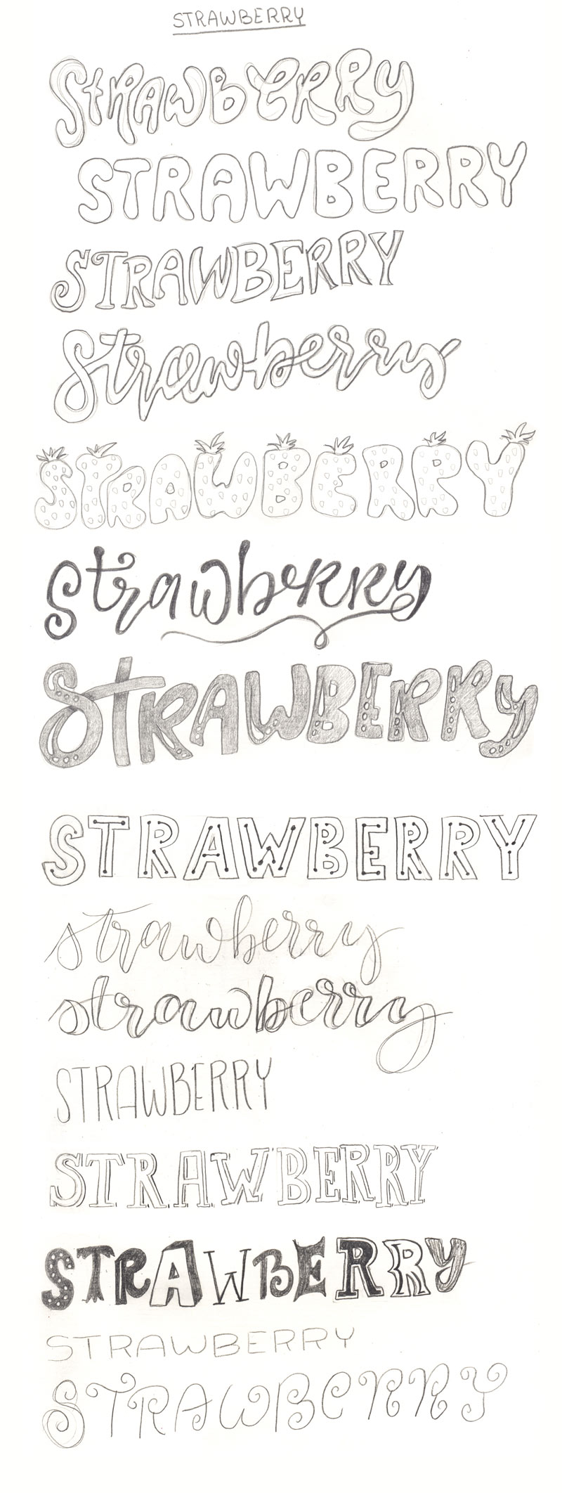 Many different lettering styles. Strawberry by @twoeasels