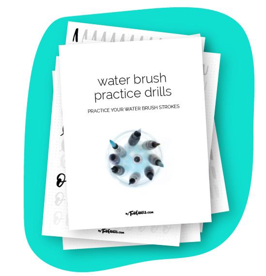 free water brush lettering worksheets