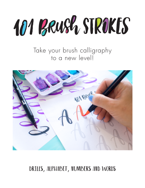 practice brush lettering with these worksheets from TwoEasels best for Tombow brush markers, or water brushes.