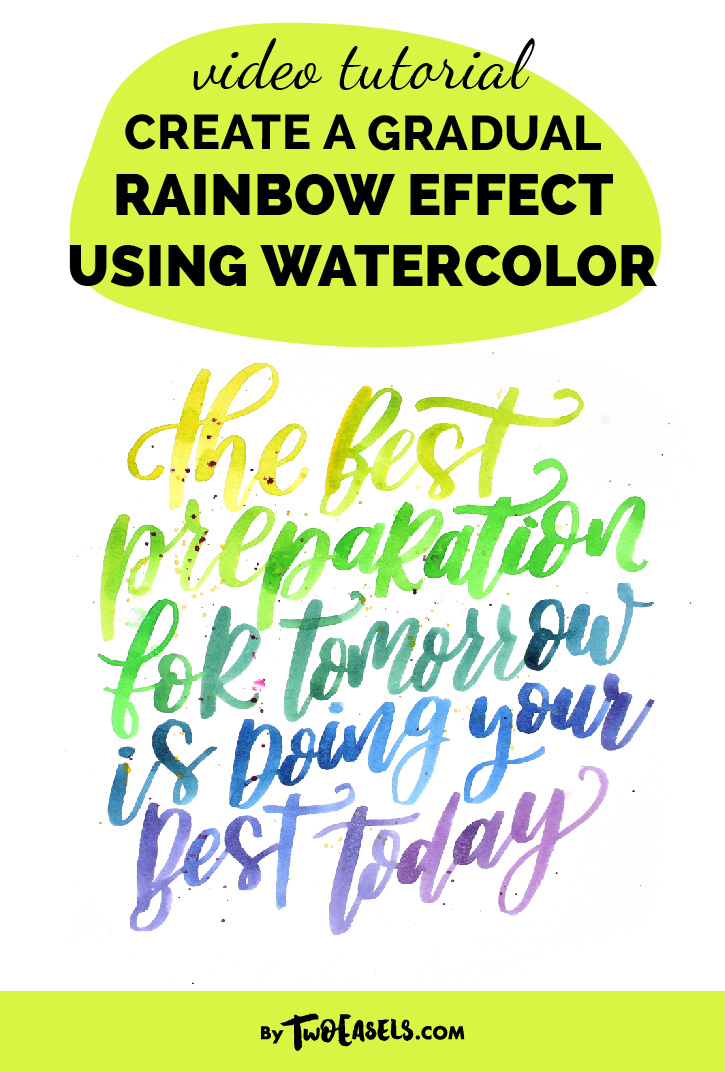 blog post video tutorial create a gradual rainbow effect using watercolor lettering