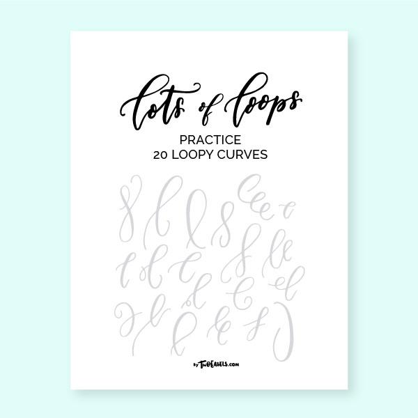 modern calligraphy loop practice sheets TwoEasels hand lettering