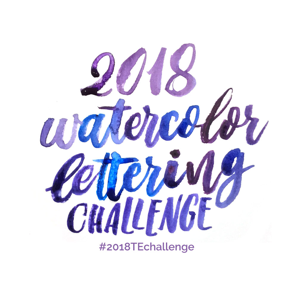 FREE Year long challenge watercolor hand lettering