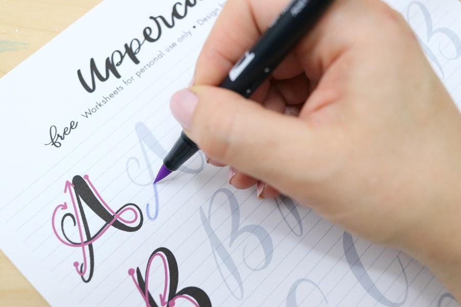 tombow dual brush pen lettering worksheets